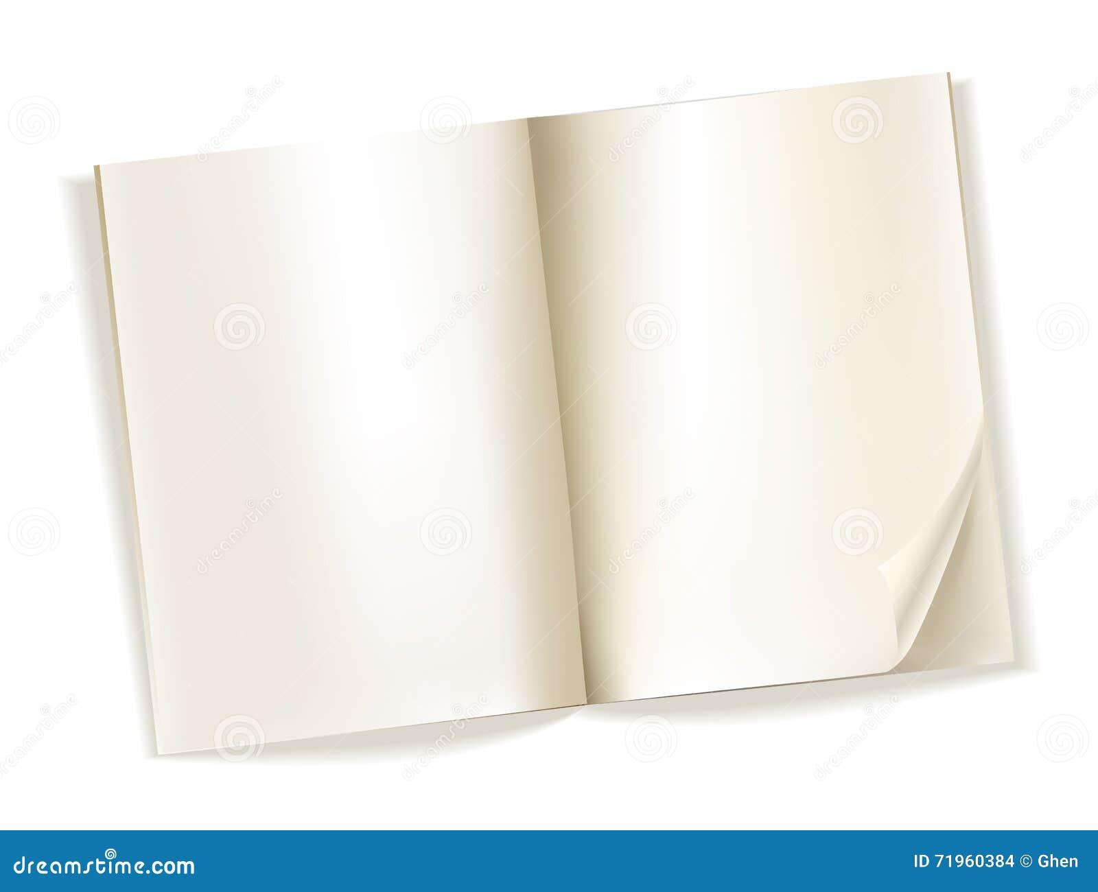 Abra las páginas amarillentas de la revista en blanco en blanco