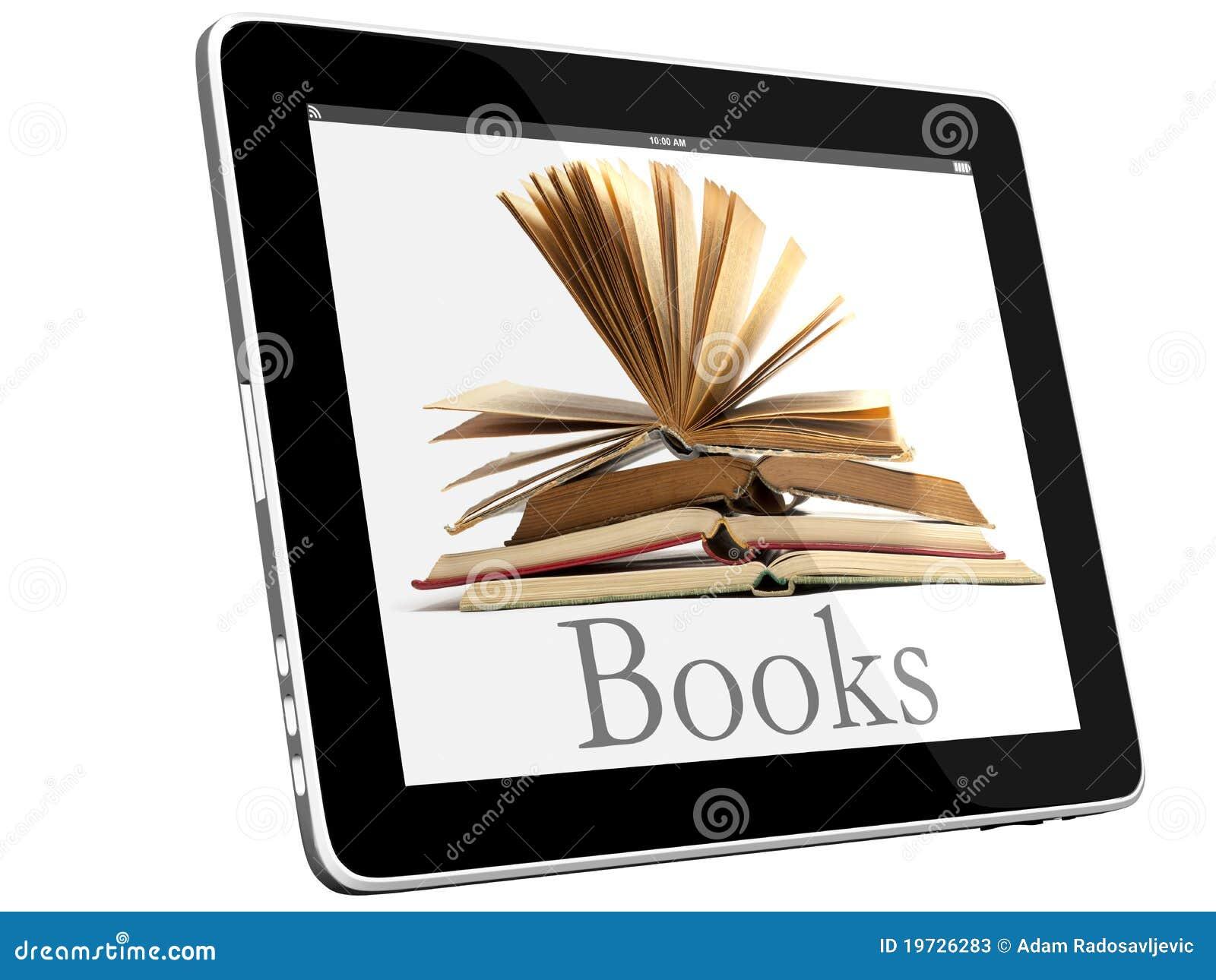 Abra los libros en concepto del iPad 3D