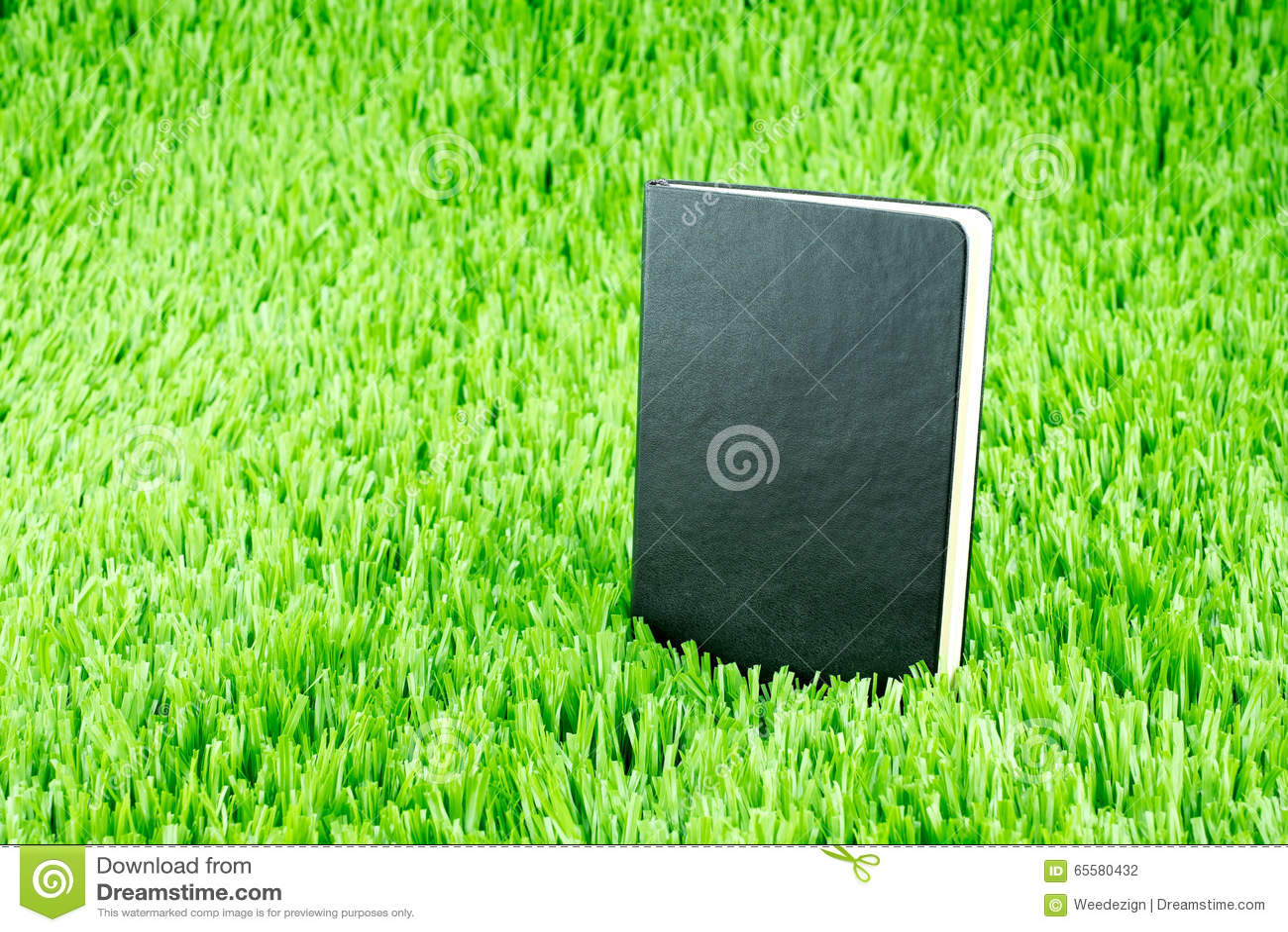 Abra o caderno no tem da grama verde, do conceito do negócio e da educação
