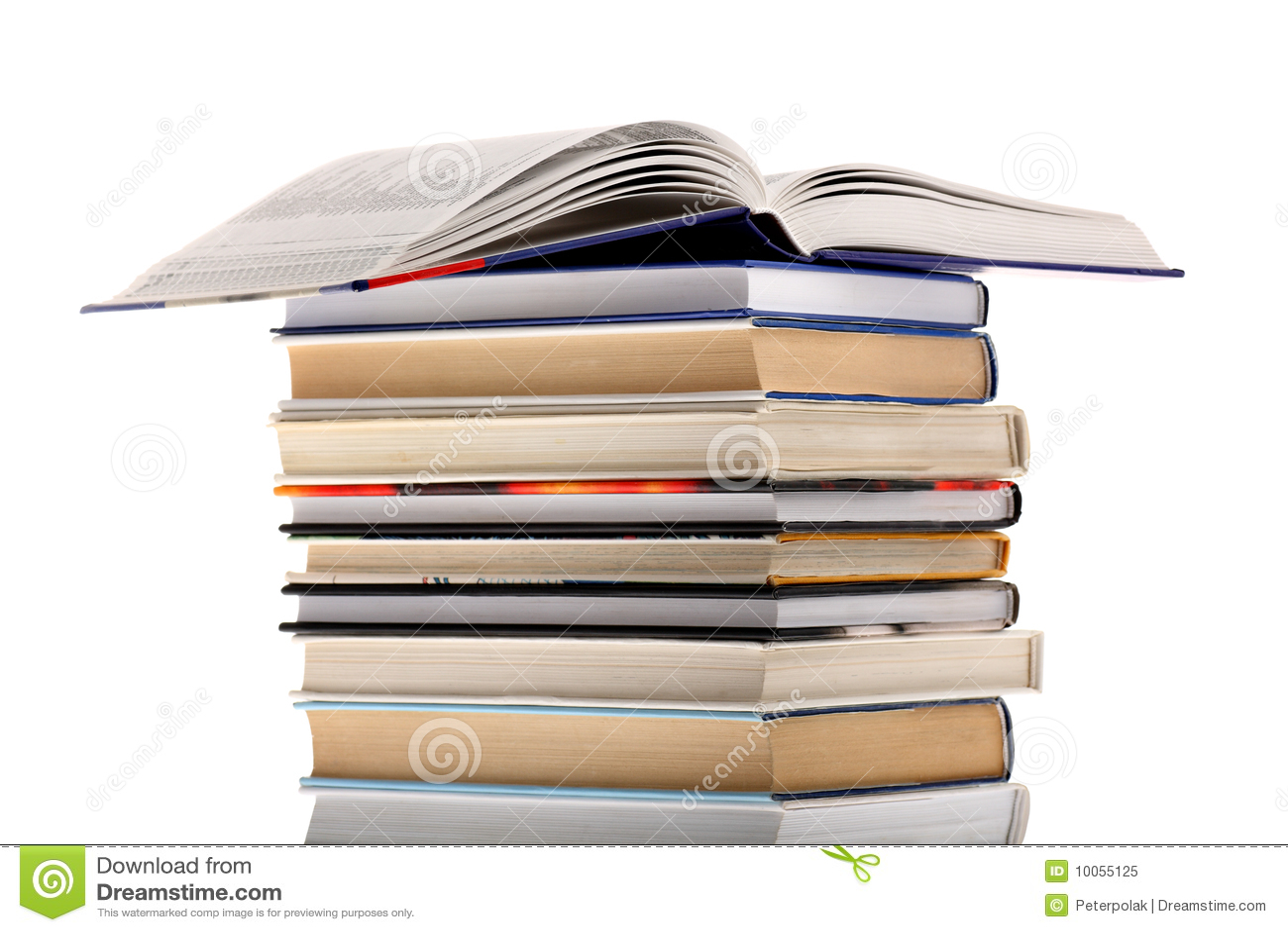 Abra o dicionário sobre a pilha de livro isolada em w