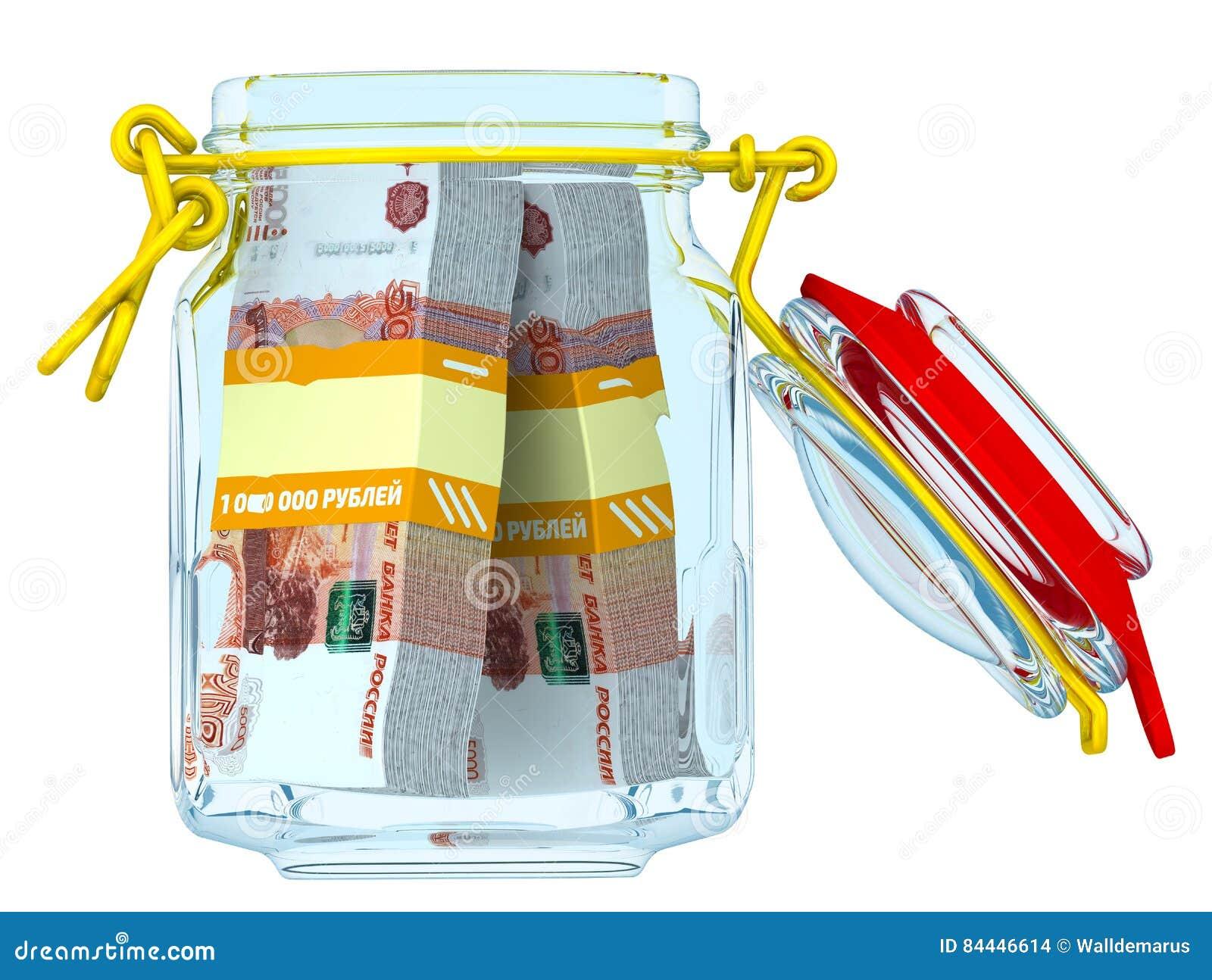 Abra o frasco de vidro com os pacotes de 5.000 cédulas dos rublos de russo