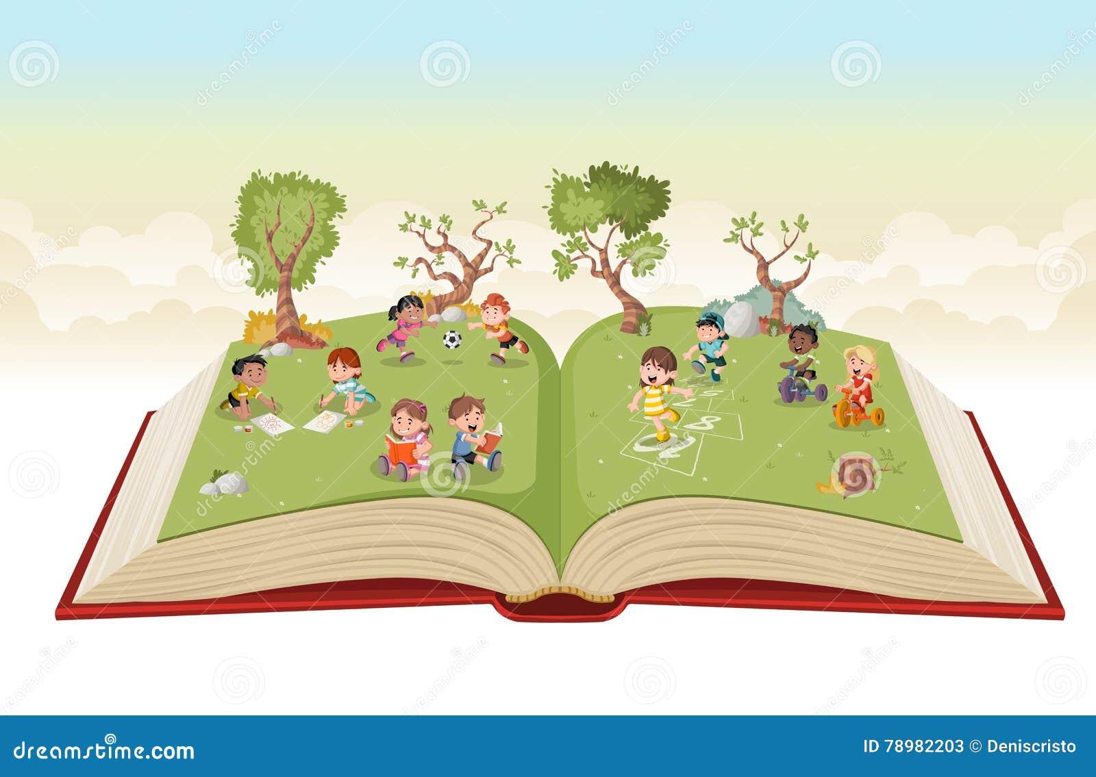 Crianças Que Jogam O Futebol Nos Desenhos Animados Do: Abra O Livro Com As Crianças Bonitos Dos Desenhos