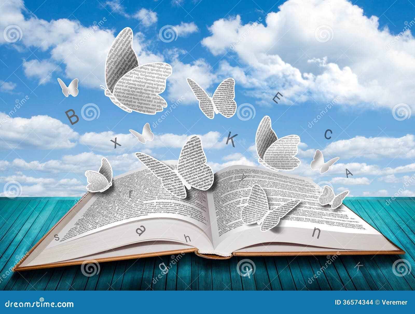 Abra o livro com letras das borboletas no c u azul for Foto di un libro