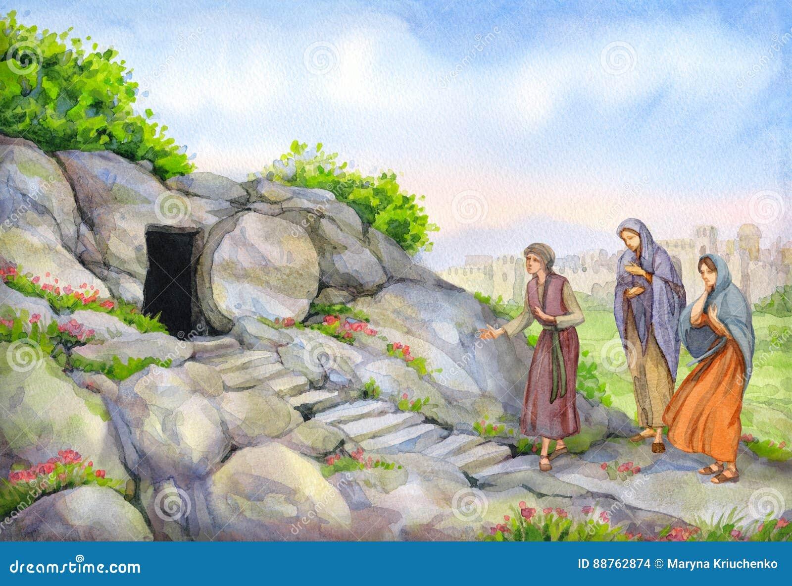 Abra o túmulo vazio Pintura da aguarela