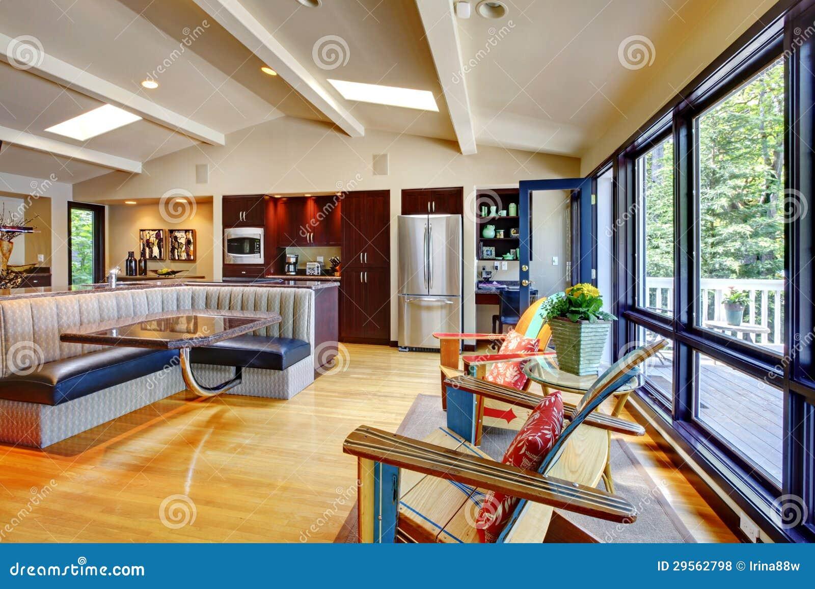 Abra A Sala De Visitas E A Cozinha Interiores Home Luxuosas Modernas  #76361B 1300 956