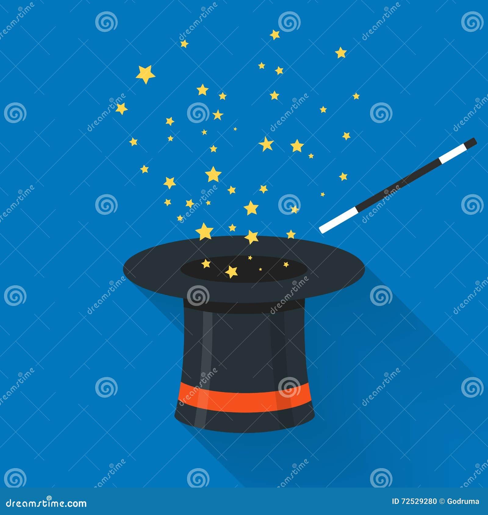 Abracadabra Cartoon Concept. Magic Wand With Stars Sparks Above ...