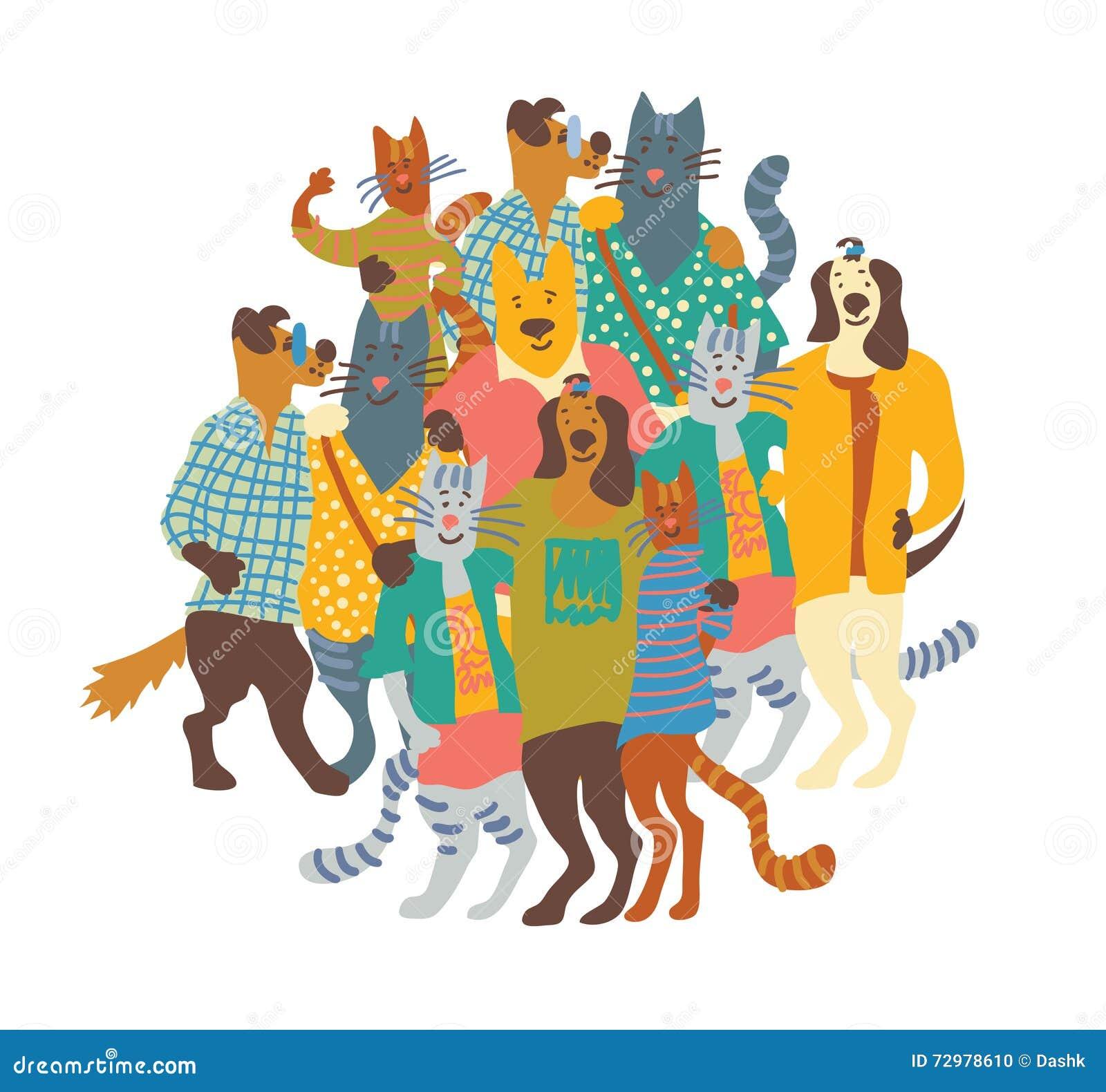 Abrace el blanco feliz del aislante del grupo de los perros y de los gatos de animales domésticos