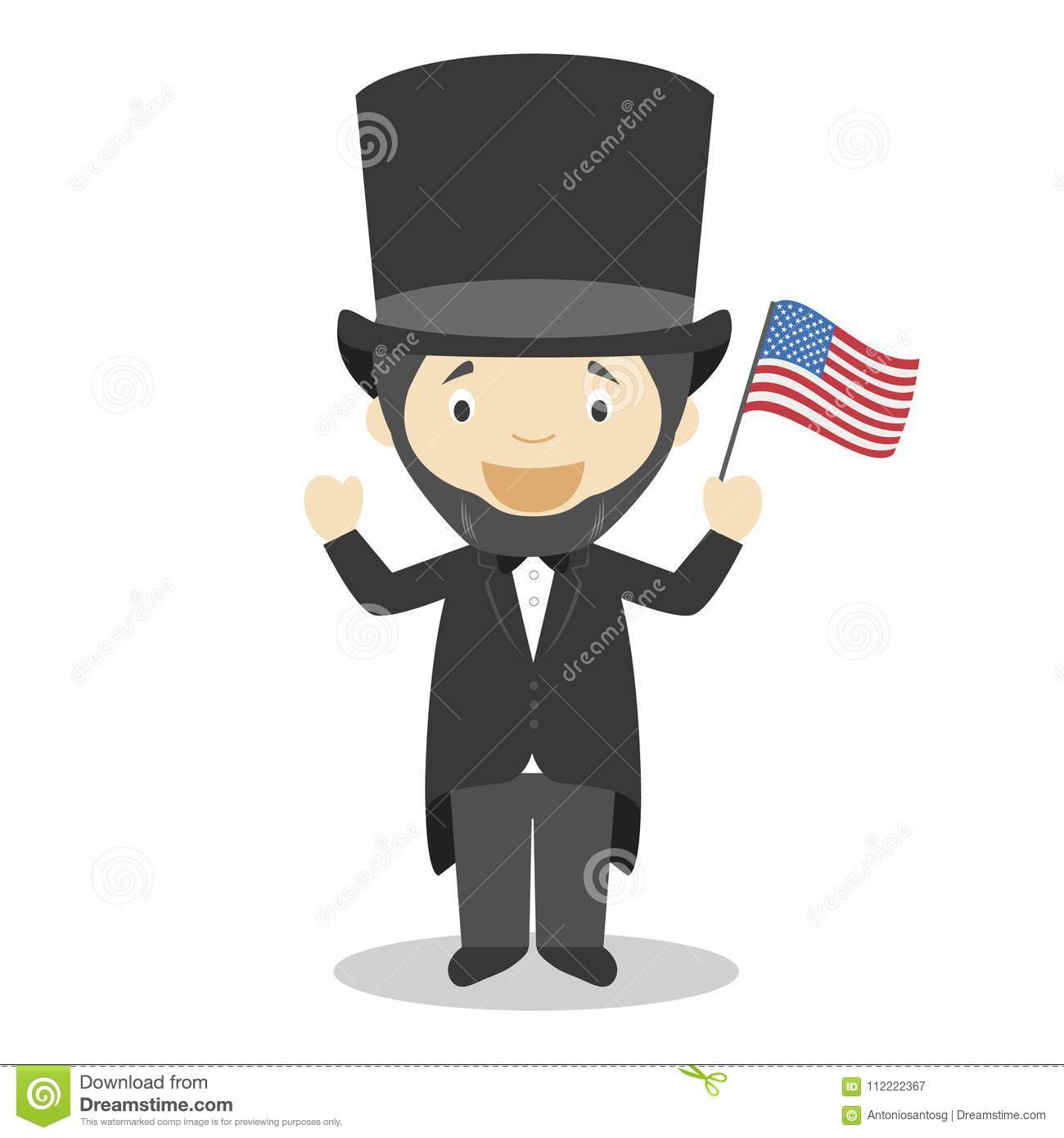 Abraham Lincoln Cartoon Character Vector Illustration Stock Vector