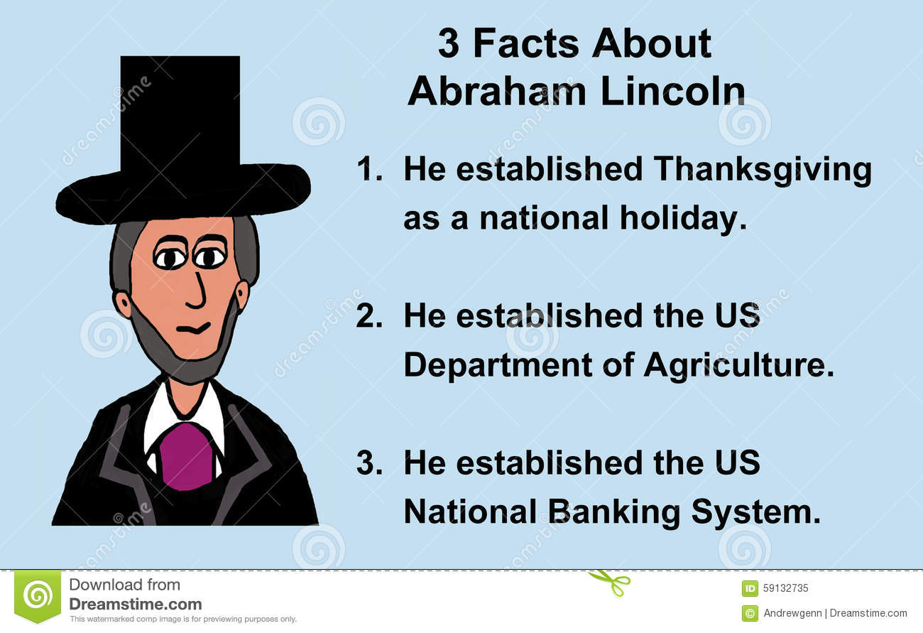 Abraham Lincoln Facts Stock Illustration - Image: 59132735