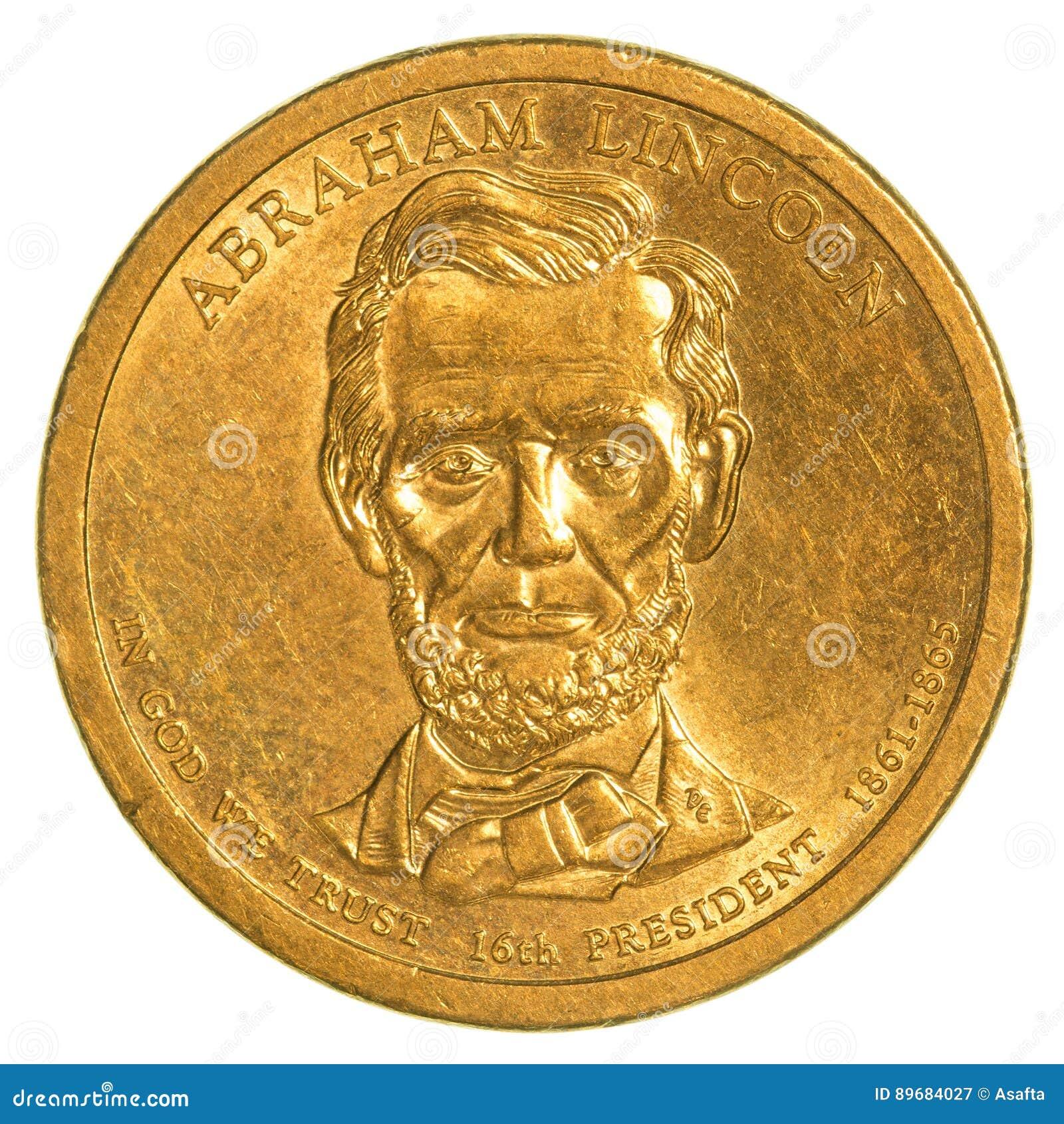 Abraham Lincoln Golden Dollar Münze Stockbild Bild Von Finanziell