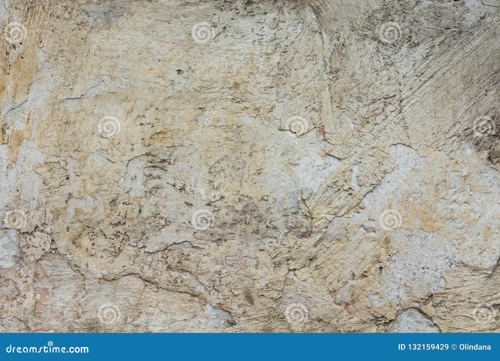 Abrasivo afligido riscado lascado emplastrou Grey Wall Background branco com textura áspera suja Cimento manchado rachado