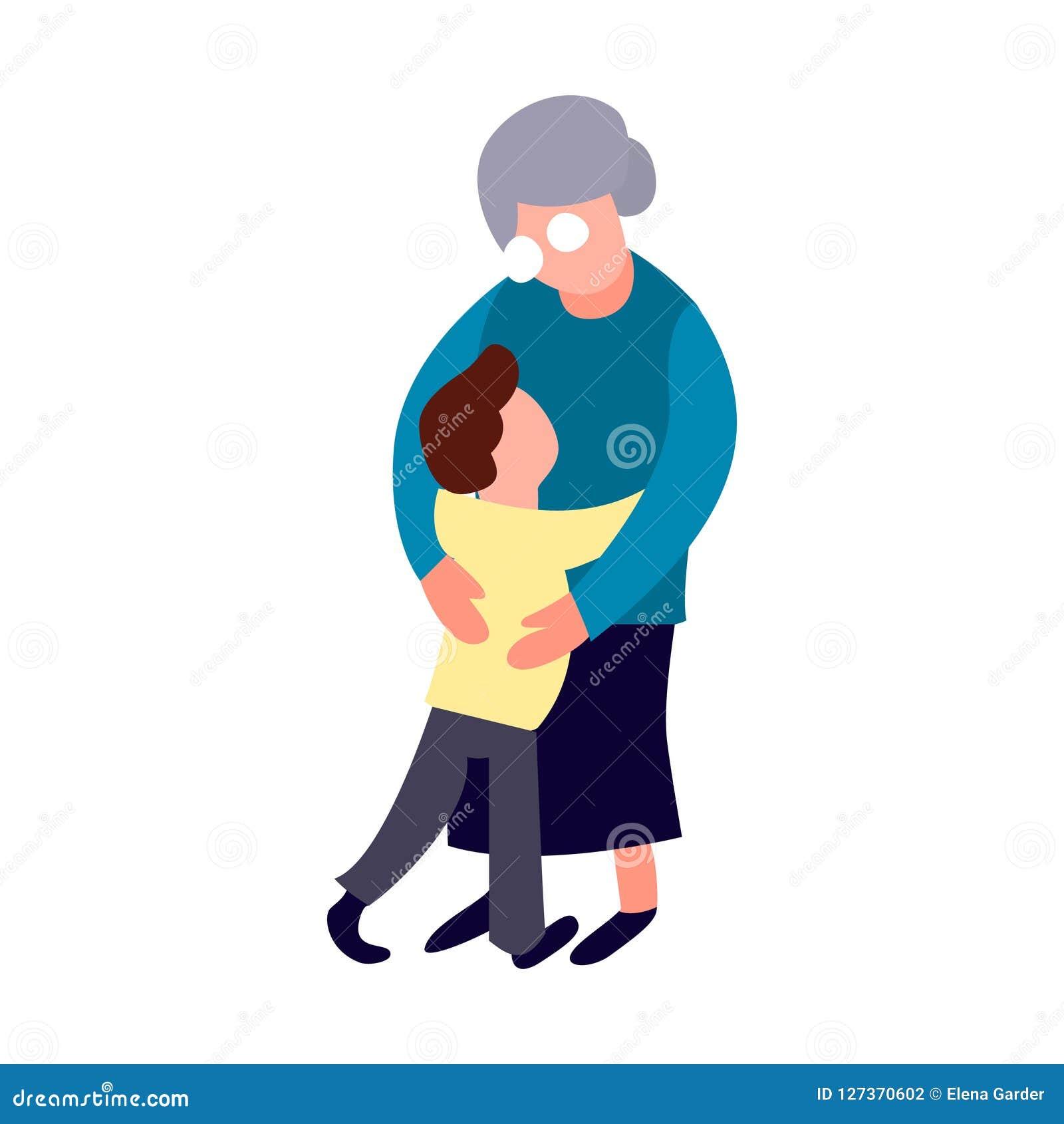 Abrazo de la abuela y del nieto Mujeres mayores de la historieta y forma planas del niño pequeño Concepto de familia feliz Forma