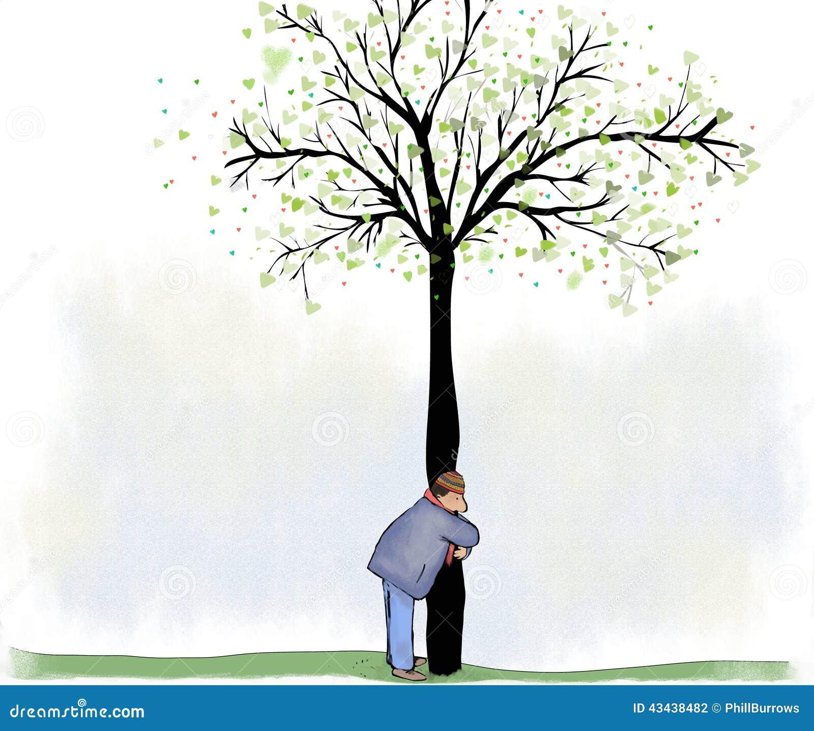Abrazo Del árbol Stock De Ilustración Ilustración De Caballero 43438482