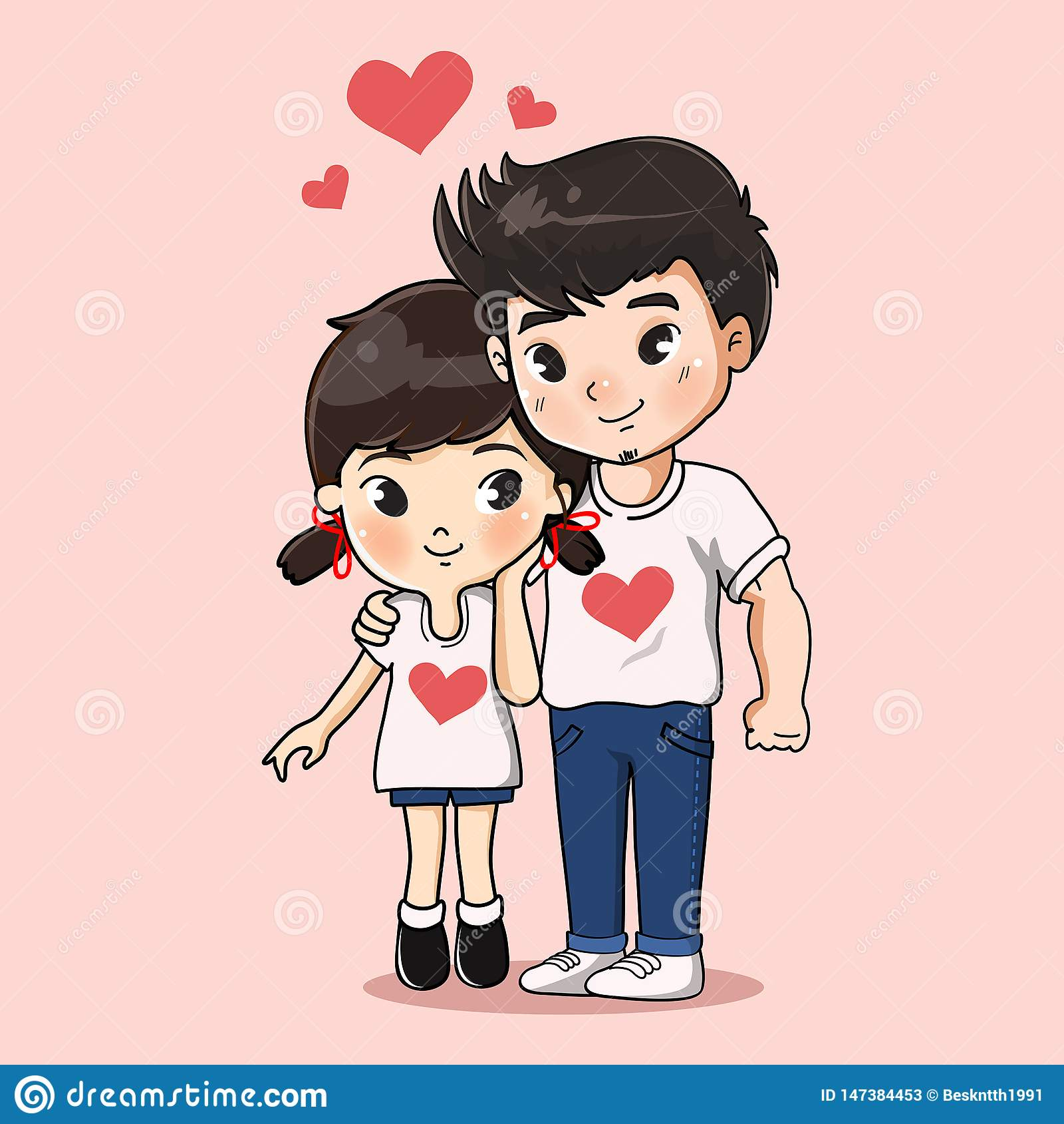 Abrazo dulce del muchacho y de la muchacha junto