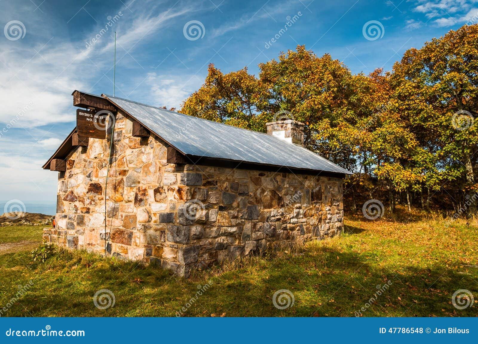 Abrigo do ninho de Byrd sobre a cimeira de Hawksbill, ao longo do appalachian