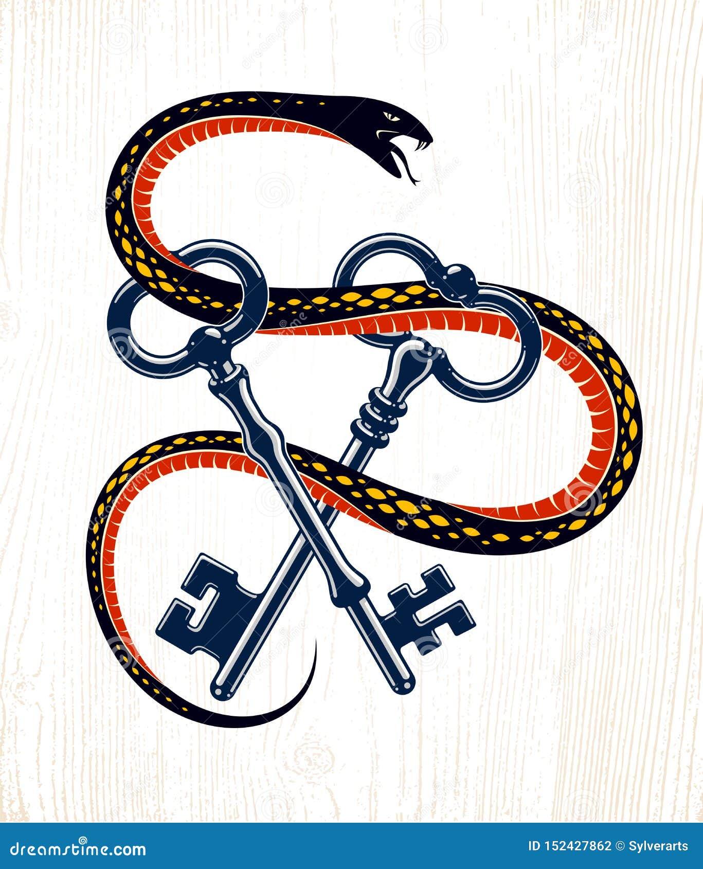 Abrigos de la serpiente alrededor de la llave del vintage, del tatuaje secreto protegido del viejo estilo del concepto, del carce