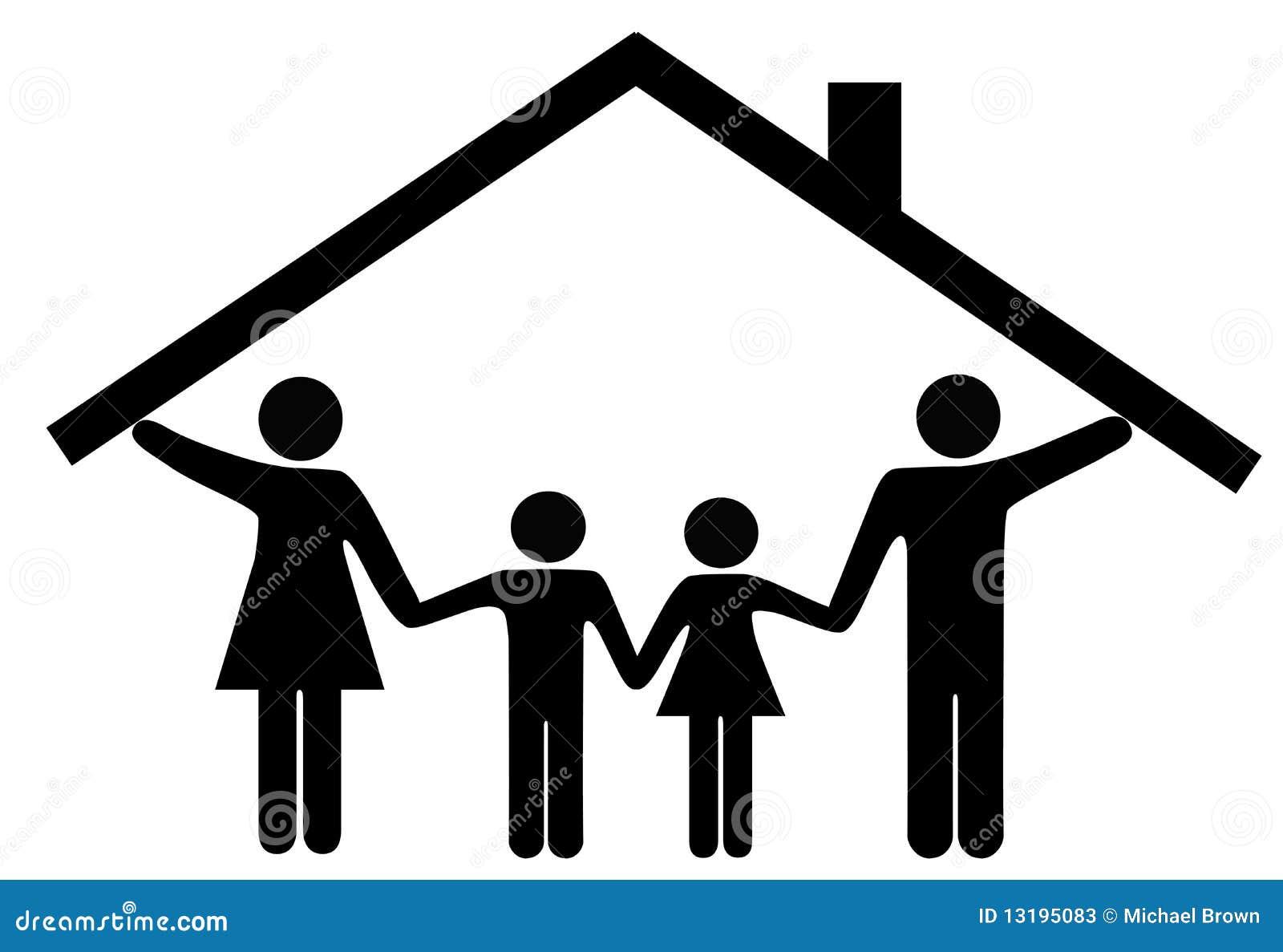Abrigue pais e crianças da família sob o telhado home