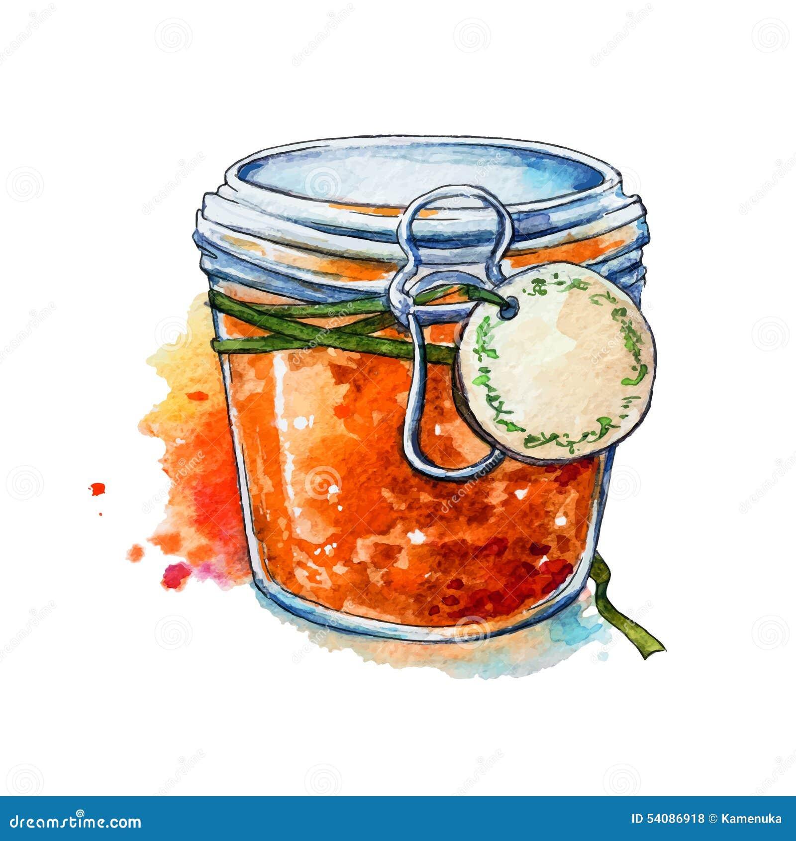 Abrikozenjam Honing Mason Jar watercolor Geschilderde hand