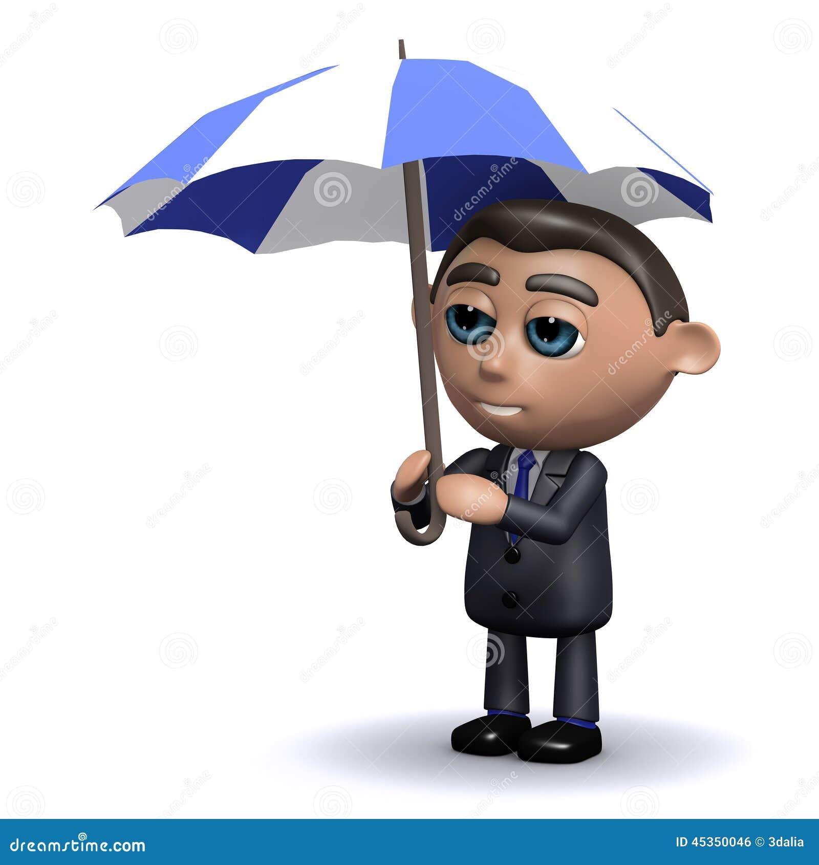 Abris du vendeur 3d sous son parapluie