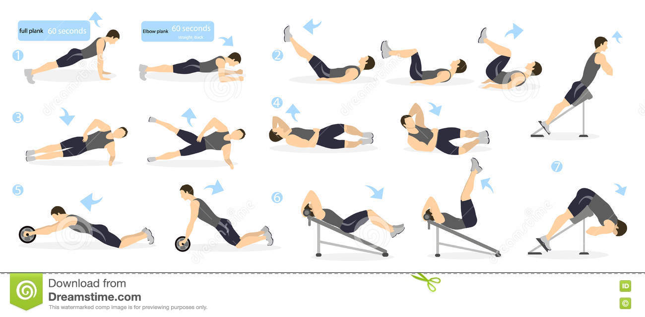 Abs Workout For Men Man In Sport Outfit Doing Exercises Gym All Kinds Of Abdominal Training