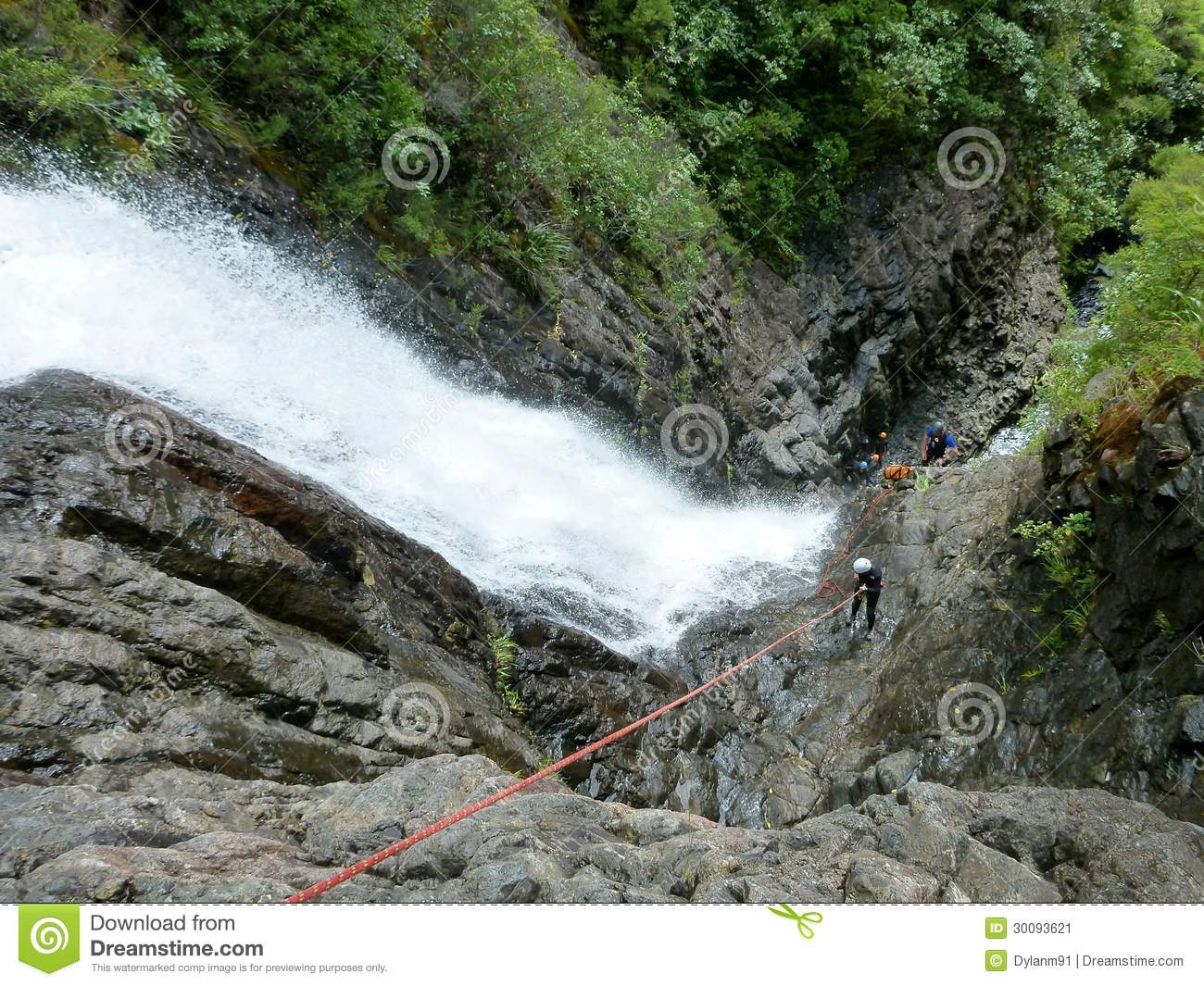 Abseiling next to Waterfalls