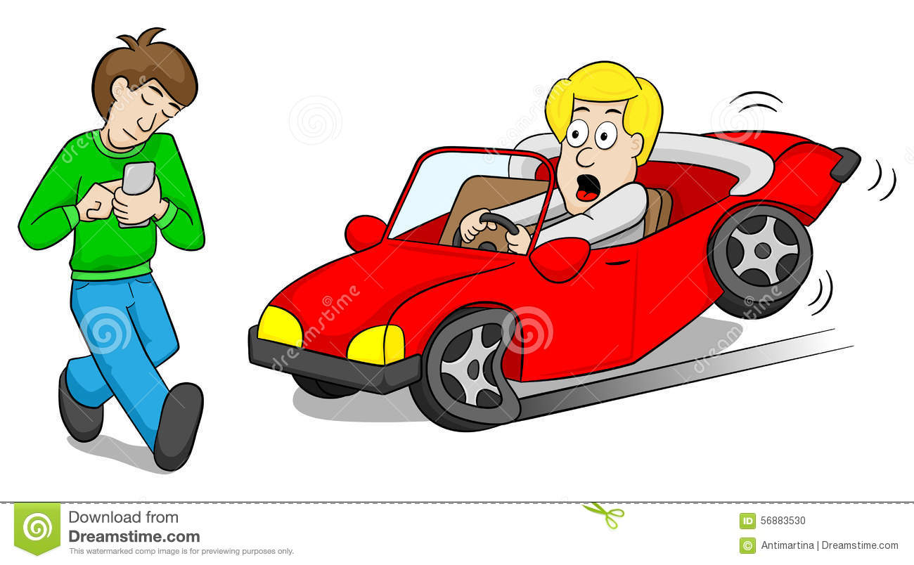 Absentminded Smartphone User Causes Car Accident Stock Vector ...