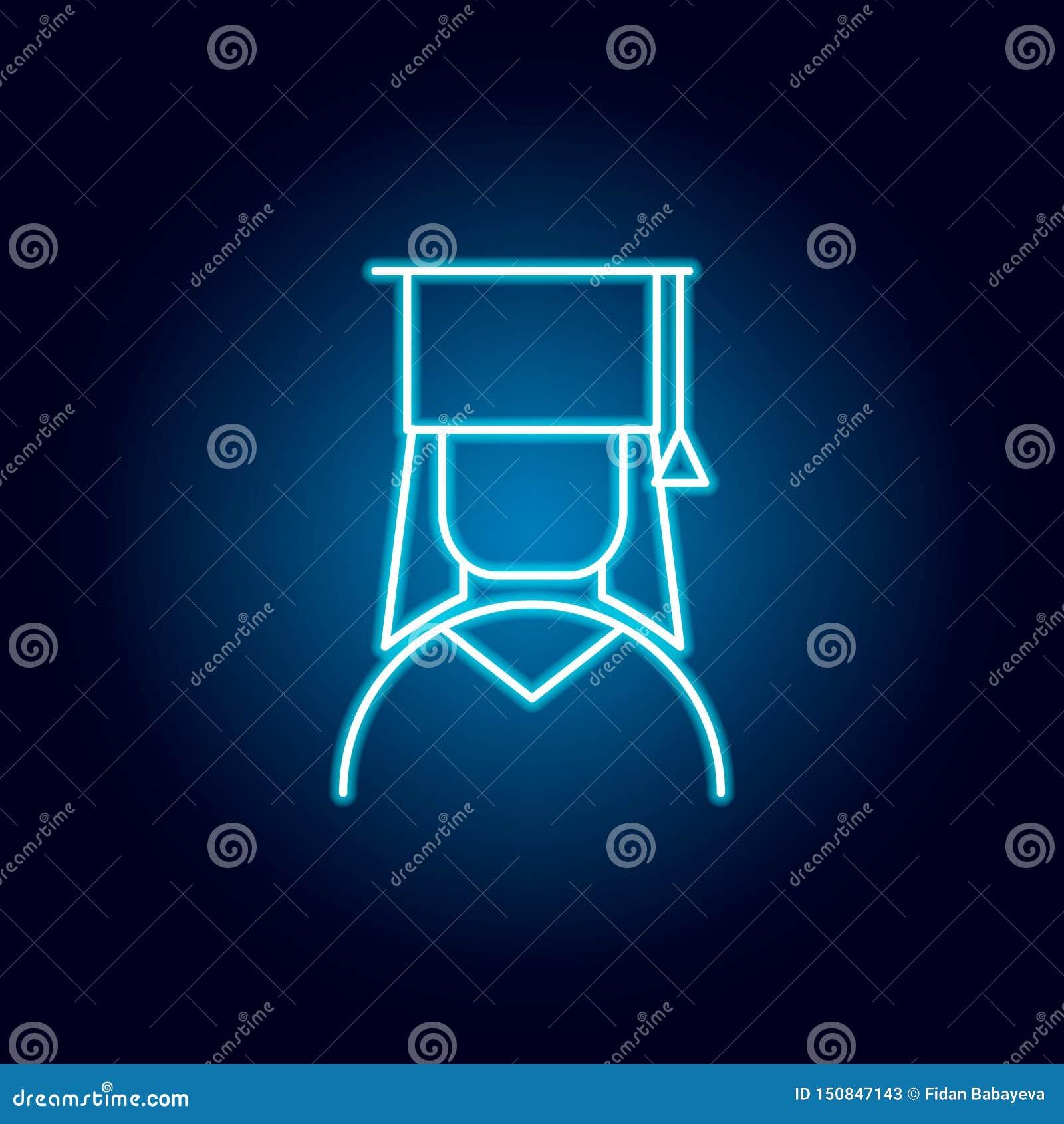 Absolvent, Frauenentwurfsikone in der Neonart Elemente der Ausbildungsillustrationslinie Ikone Zeichen, Symbole können für Netz,