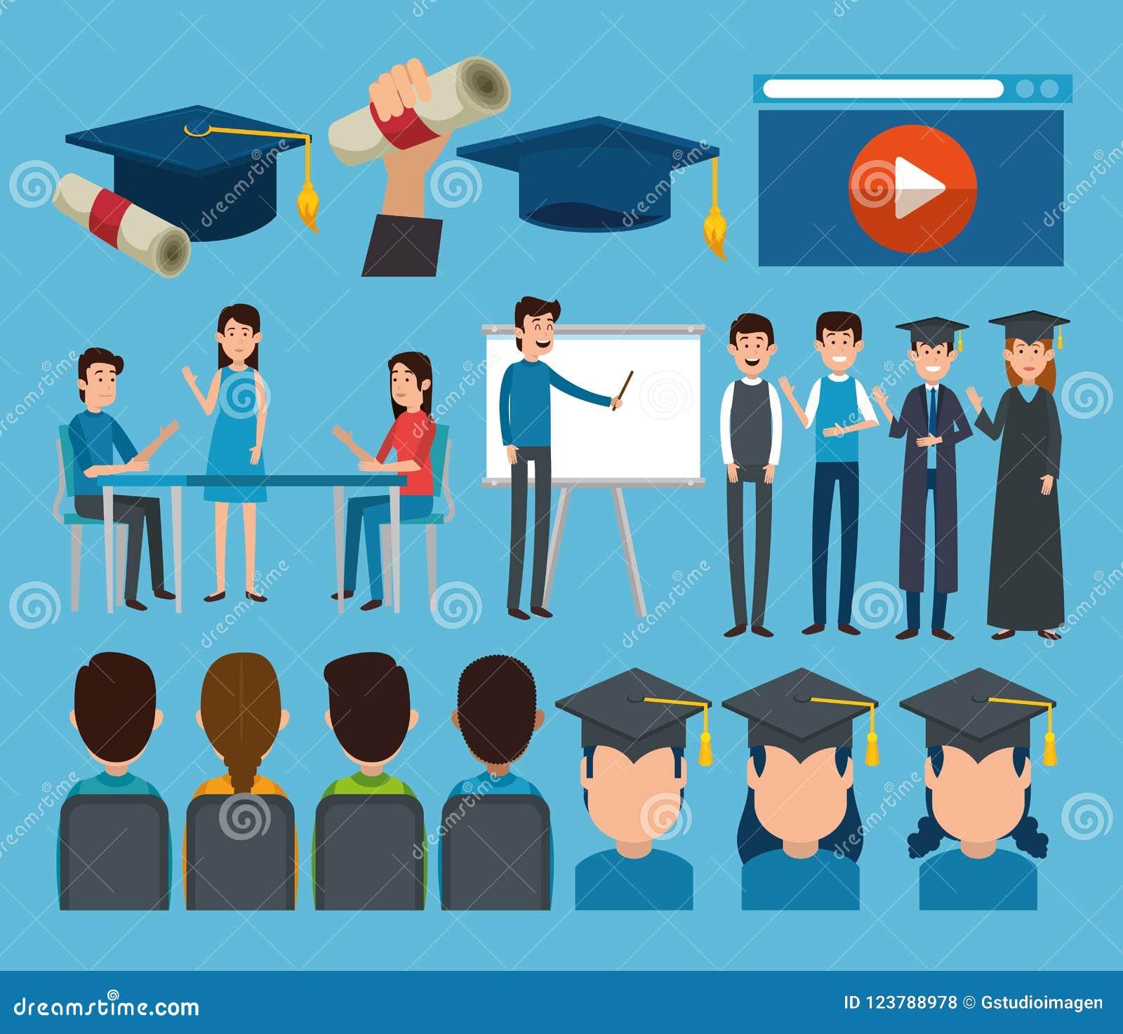 Absolwenci z edukacj online ikonami