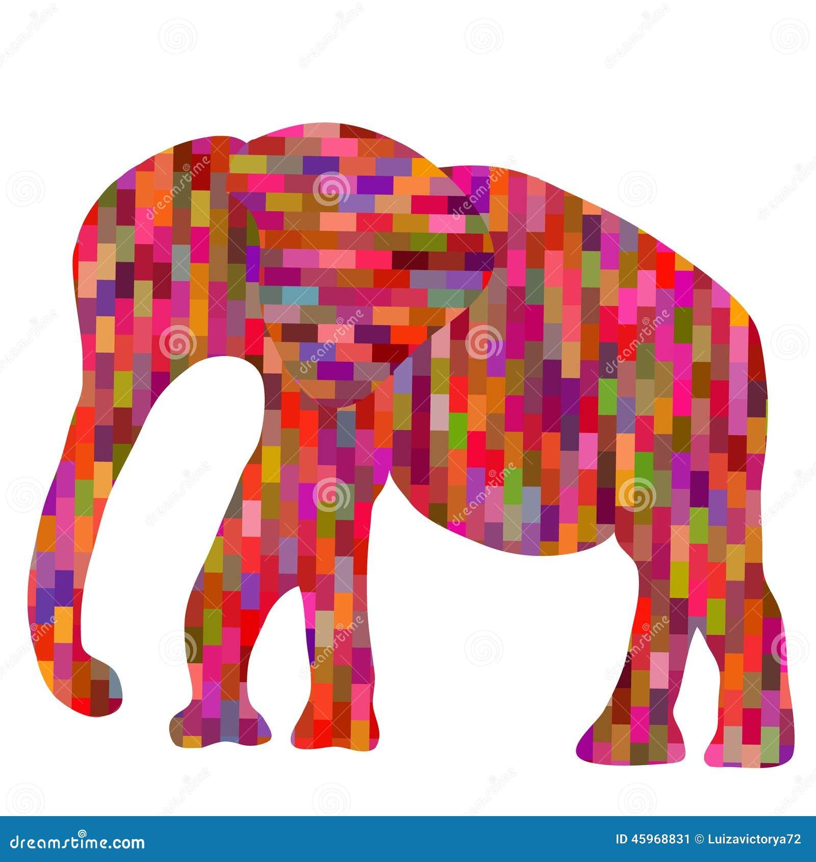 亚洲色囹il�(���_absract五颜六色的几何马赛克大象剪影, il