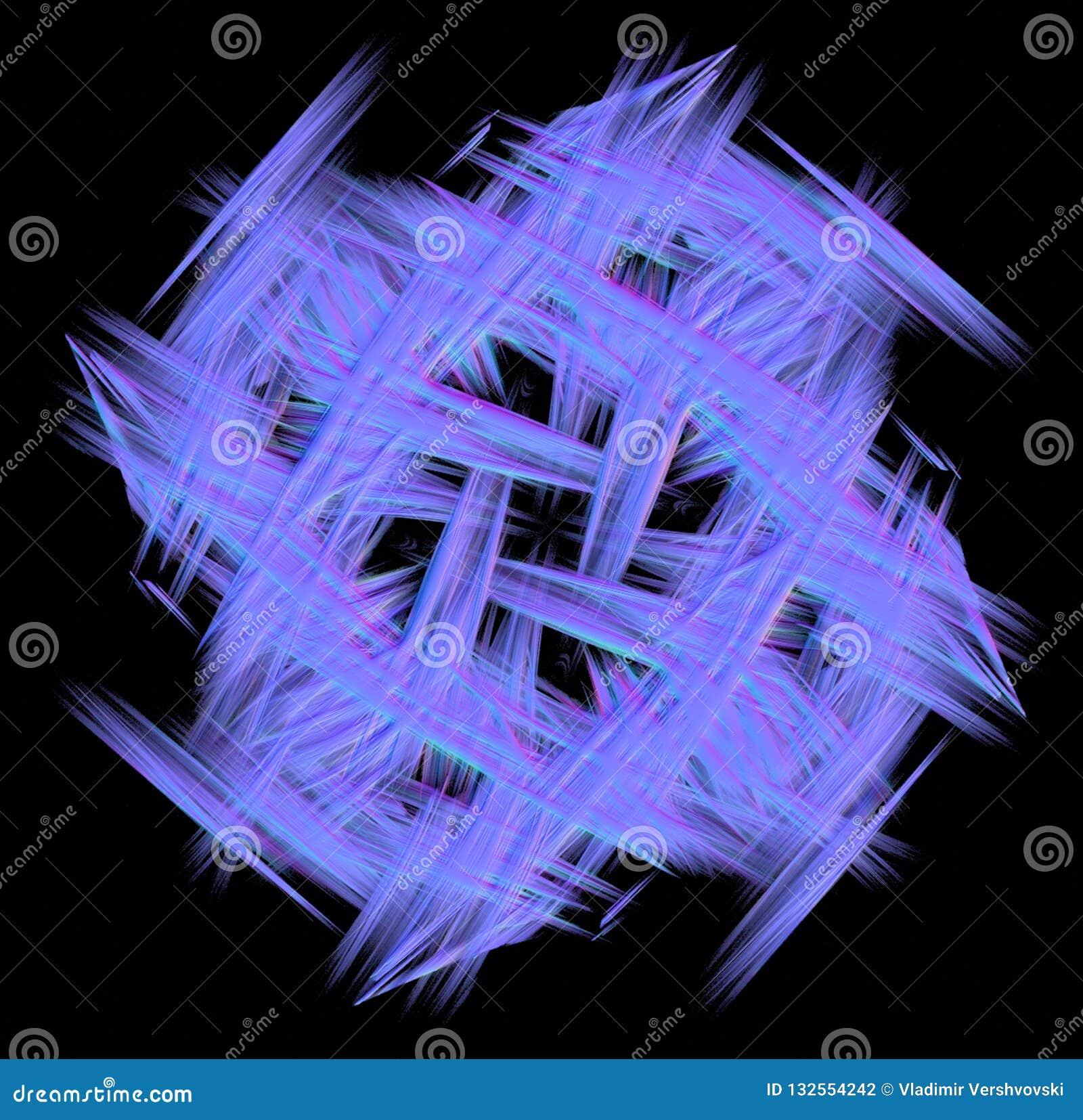 Abstaction bleu de fractale sur un fond noir