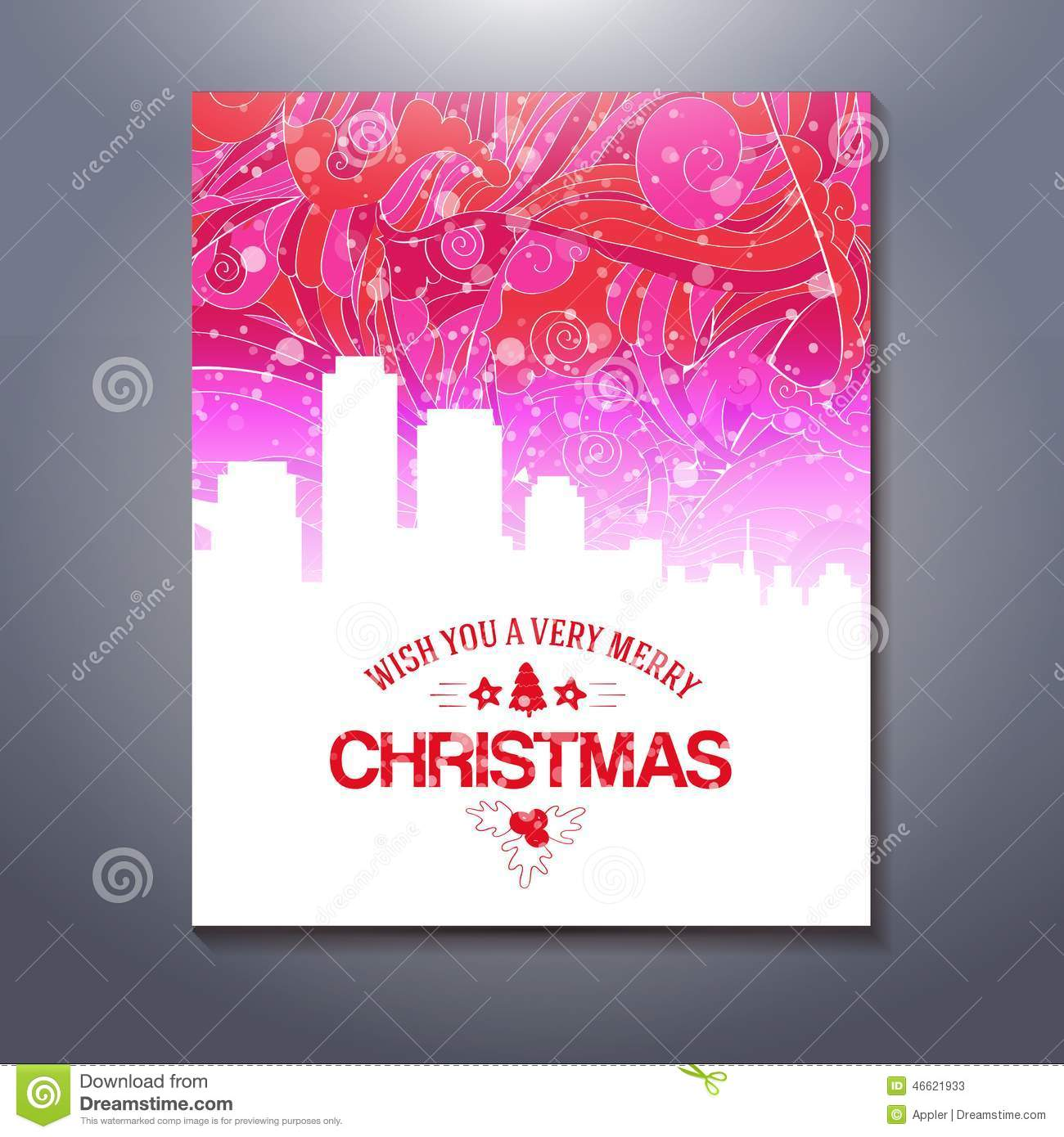 Abstarct urban scene xmas greetings template stock vector abstract city illustration with merry christmas text greetings silhouette building at colorful drawing background lighting and holidays illustration m4hsunfo