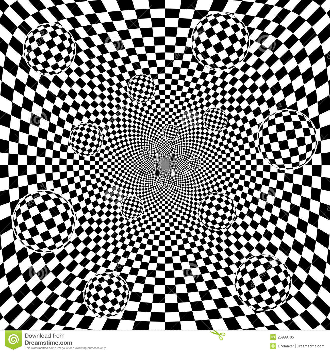 Abstract 3d Black And White Chess Pattern Backgrou Stock