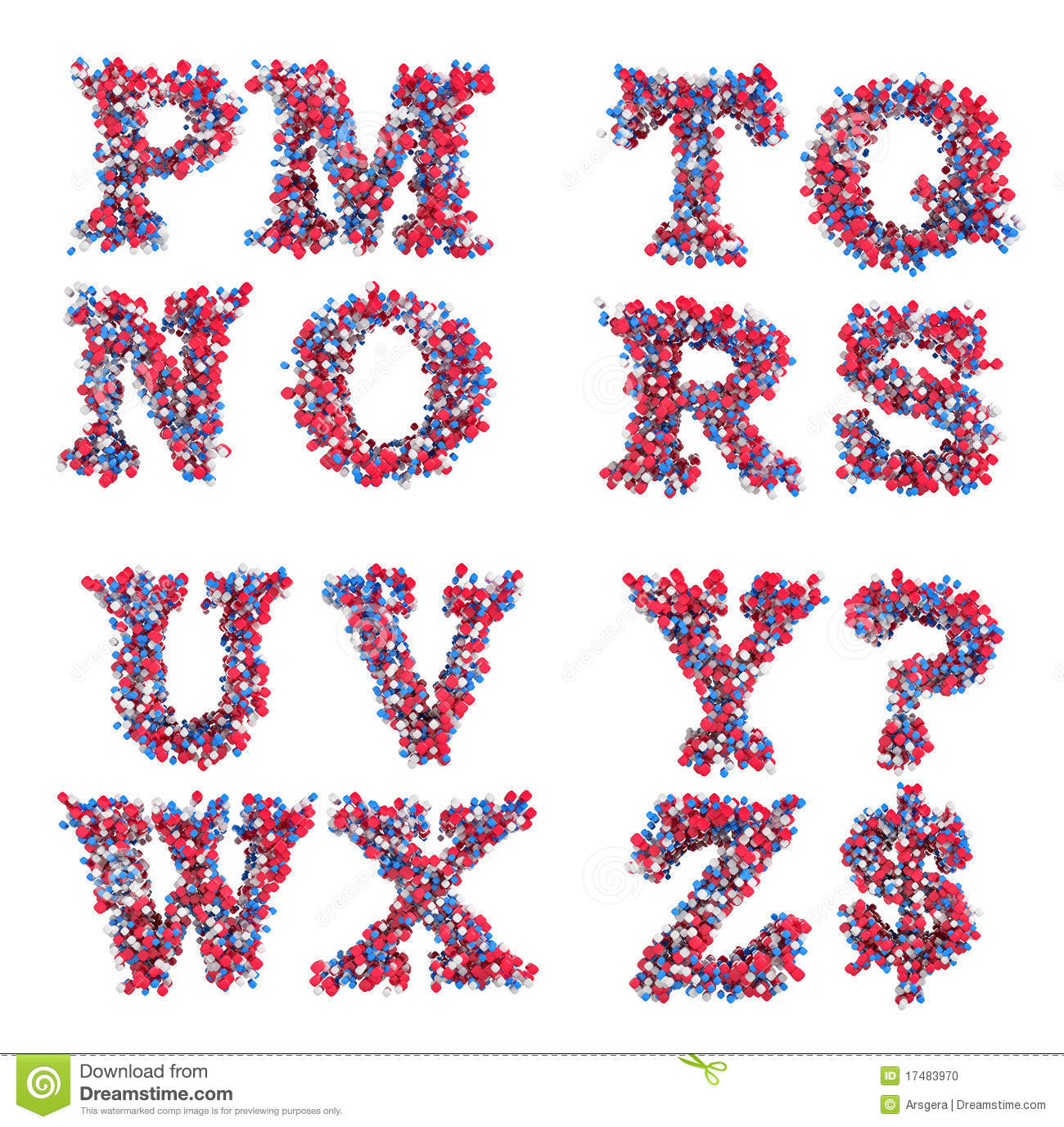 Abstract 3d Font M Z Letters And Symbols Stock Illustration