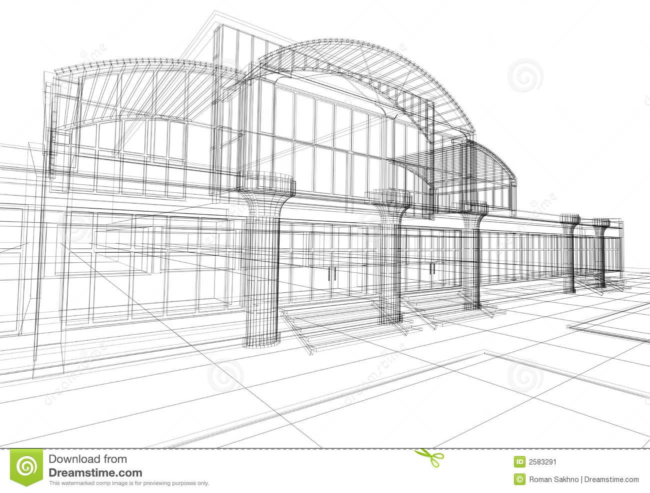 Commercial Building Blueprints Abstract 3d office building