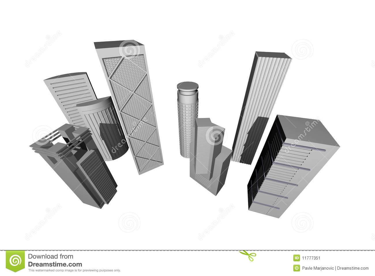 Abstract 3D render of modern skyscrapers