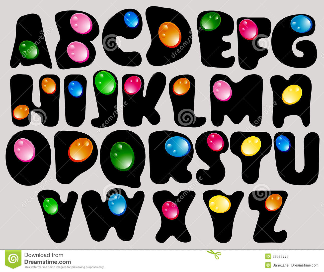 abstract abc black alphabet with color drops stock vector