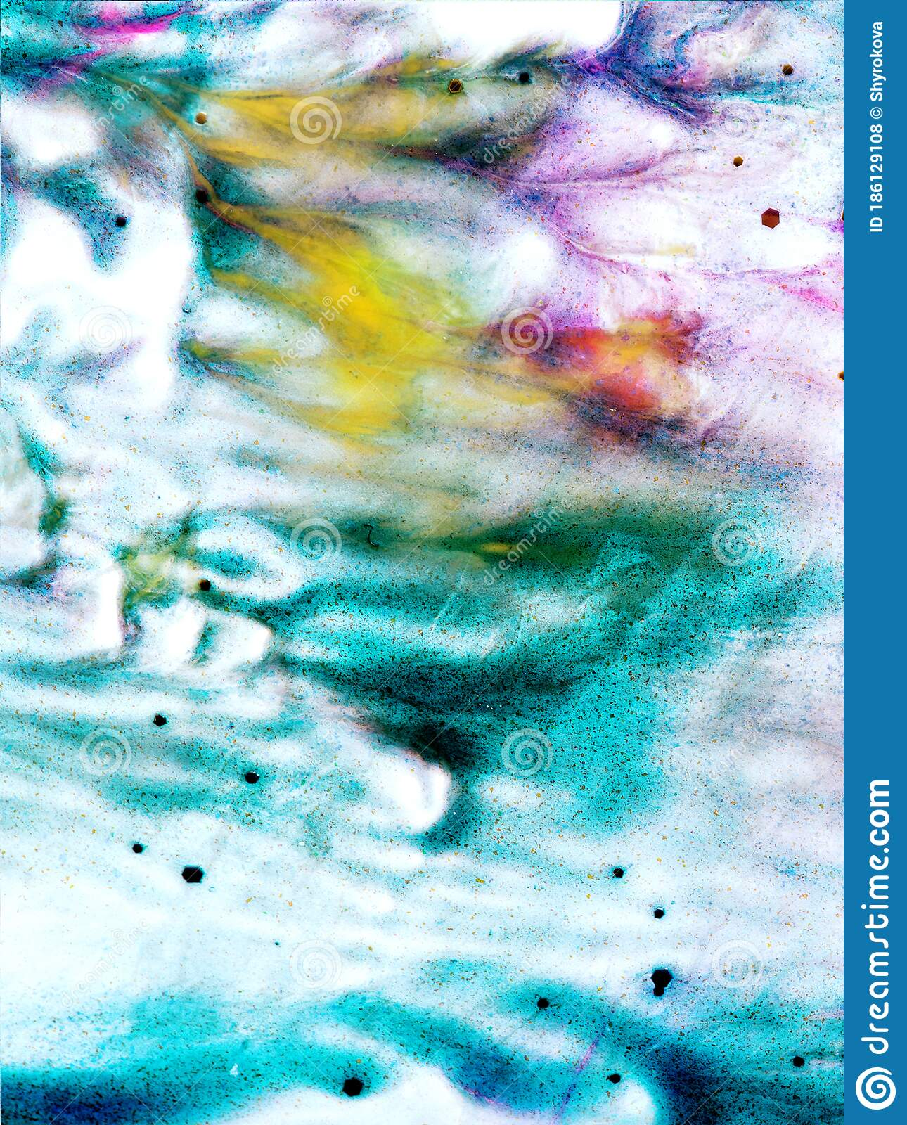Abstract Acrylic Background In Blue Yellow Colours Stock Photo Image Of Paint Particles 186129108