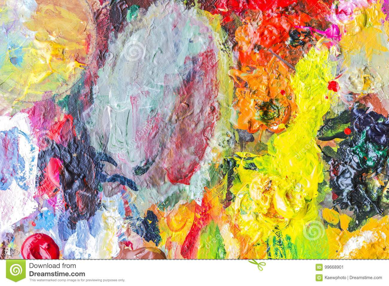Abstract acrylic paint palette of colorful, mix color, background,vector illustration,a mixture of colors, stains with