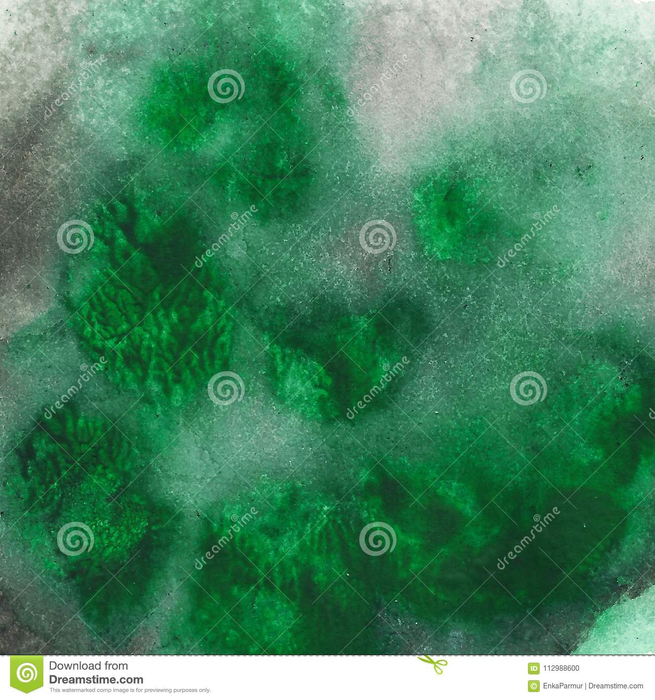 Abstract acrylic painted background. Black green textured vibrant color. Grunge template for your design.