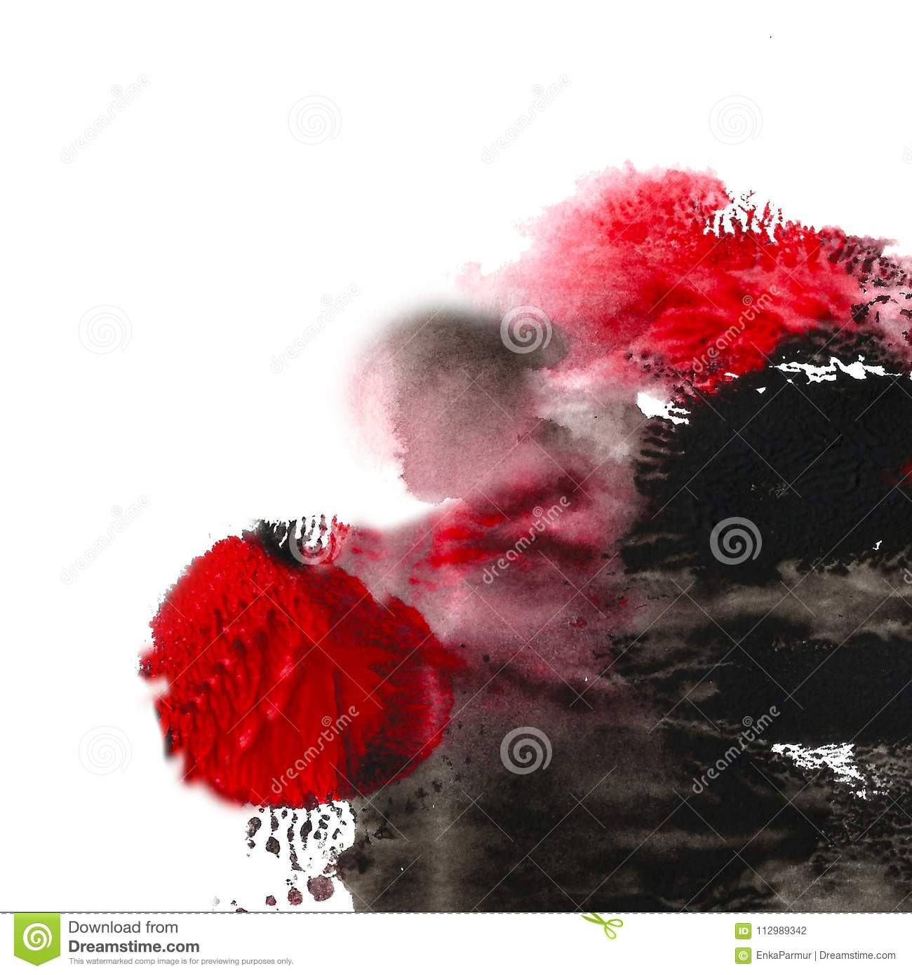 Abstract acrylic painted background. Black, red textured vibrant color. Grunge template for your design.