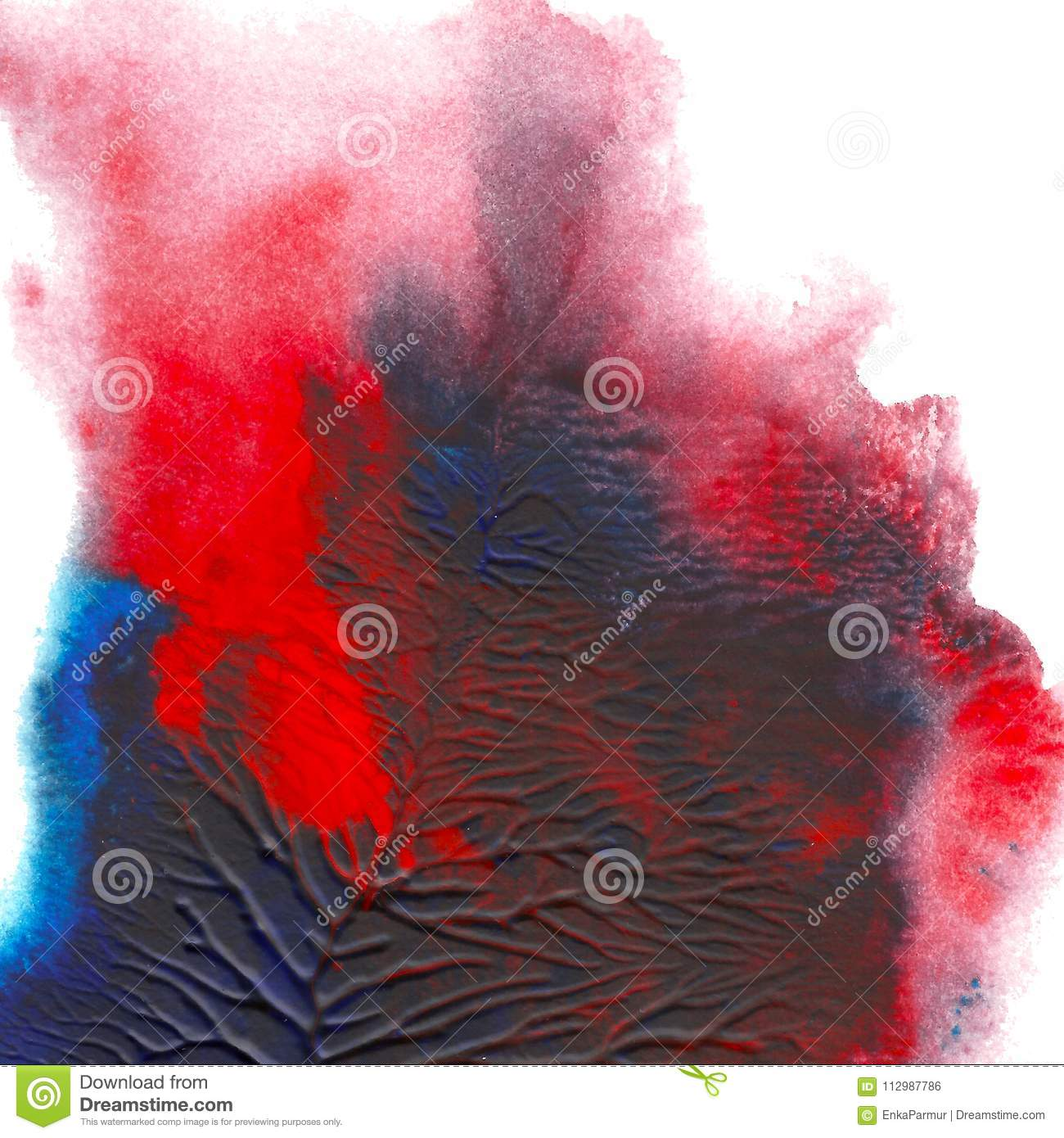 Abstract acrylic painted background. Blue red textured vibrant color. Grunge template for your design.