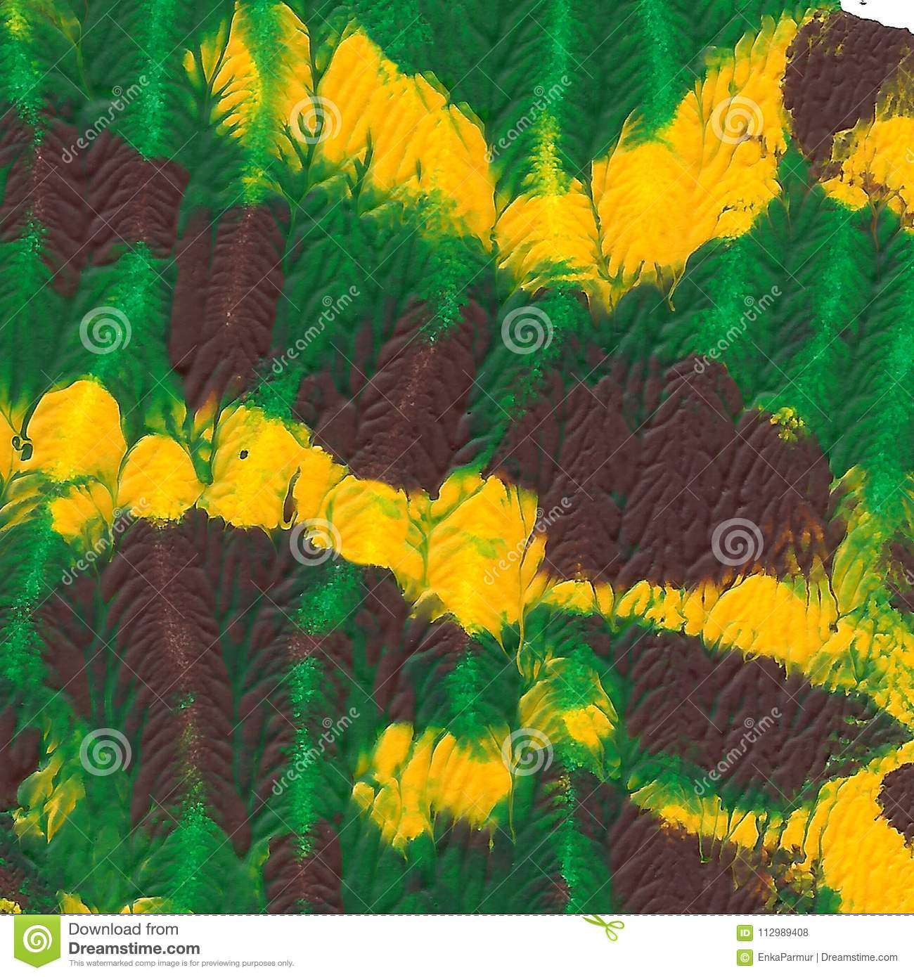 Abstract acrylic painted background. Green, brown, yellow textured vibrant color. Grunge template for your design.