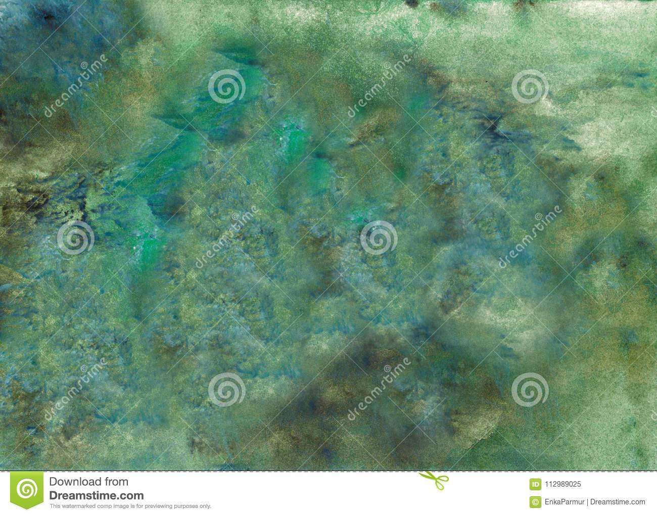 Abstract acrylic painted background. Mixed Green, black, blue textured vibrant color. Grunge template for your design.