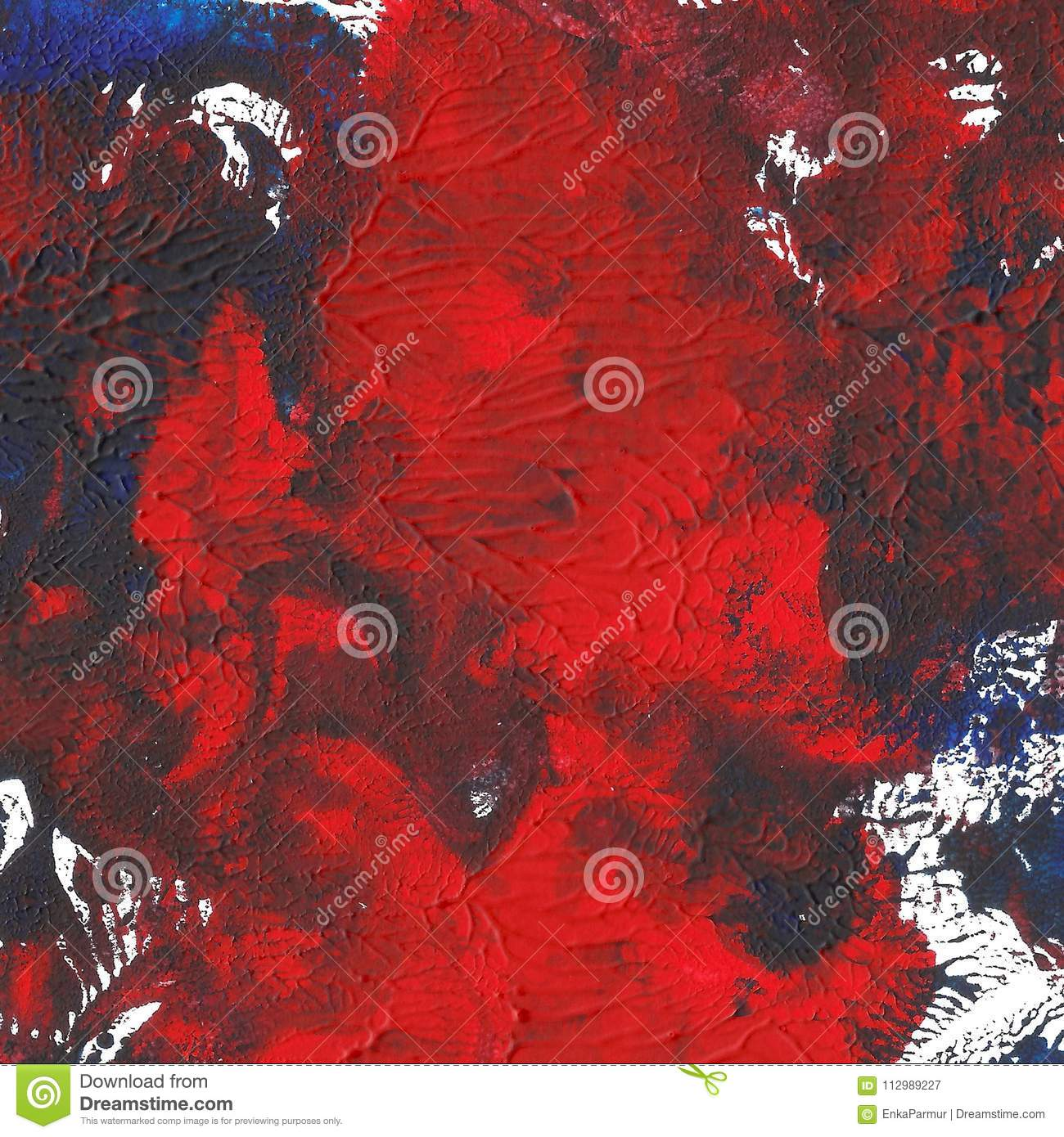 Abstract acrylic painted background. Red blue textured vibrant color. Grunge template for your design.