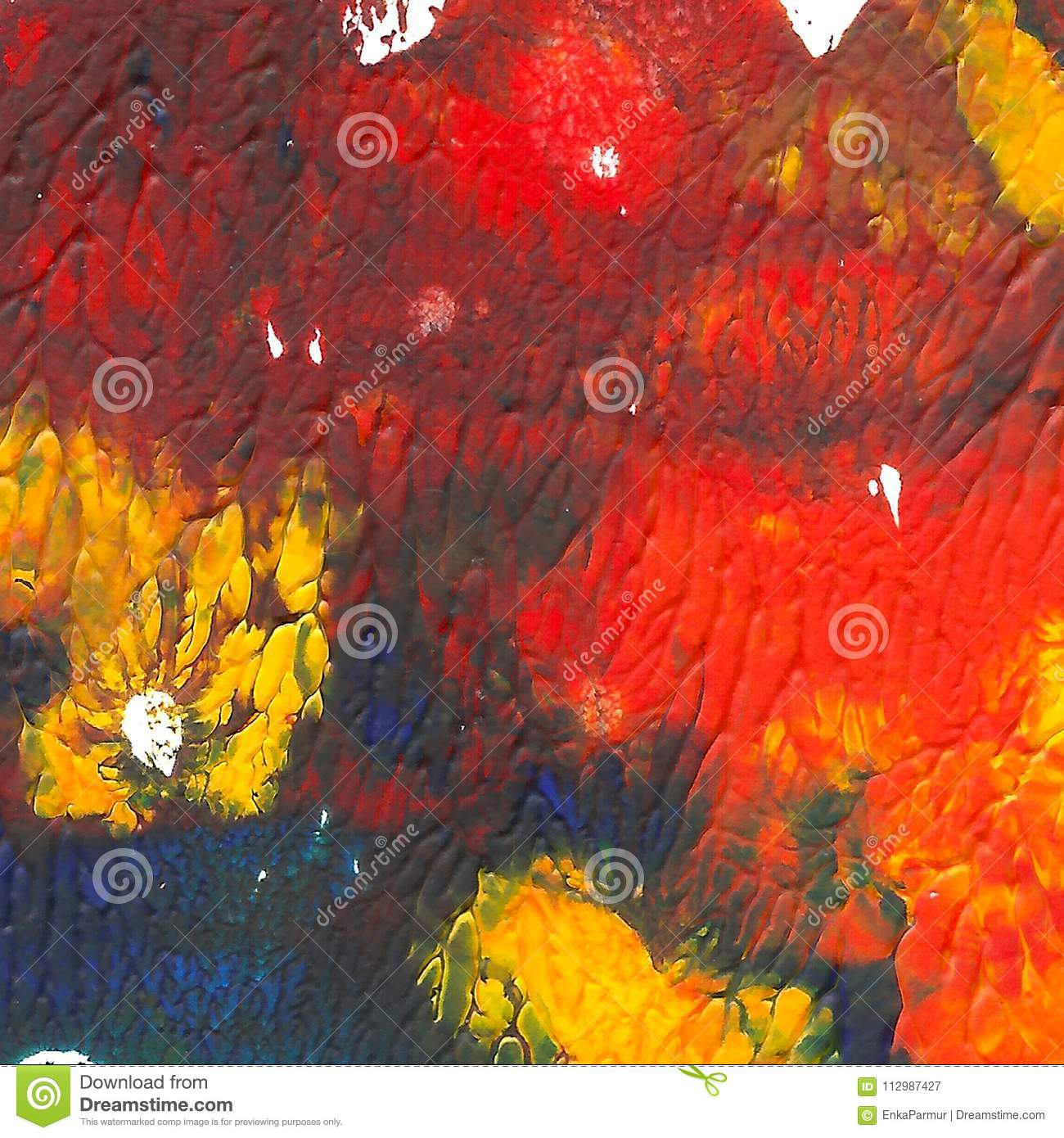 Abstract acrylic painted background. Red, orange, blue, yellow vibrant color.