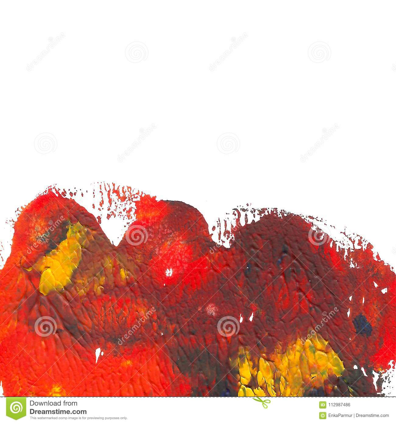 Abstract acrylic painted background. Red, orange, blue, yellow vibrant color. Monotyped hand drawn grunge