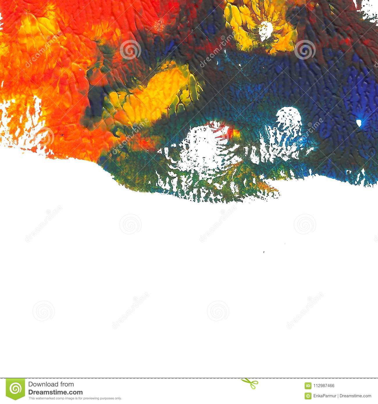 Abstract acrylic painted background. Red, orange, blue, yellow vibrant color on white.