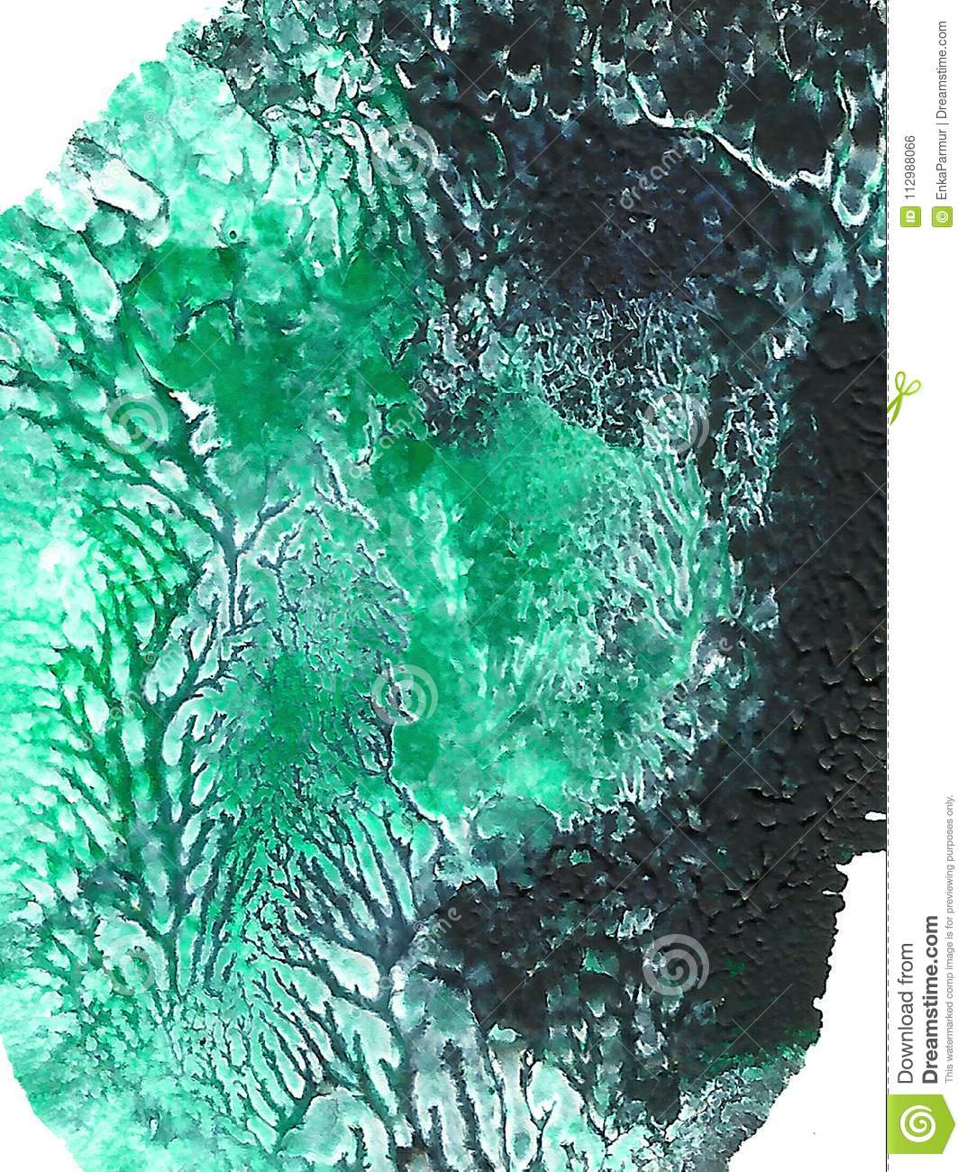 Abstract Acrylic Painted Background Turquoise Black Green Mixed Textured Vibrant Color Grunge Template For
