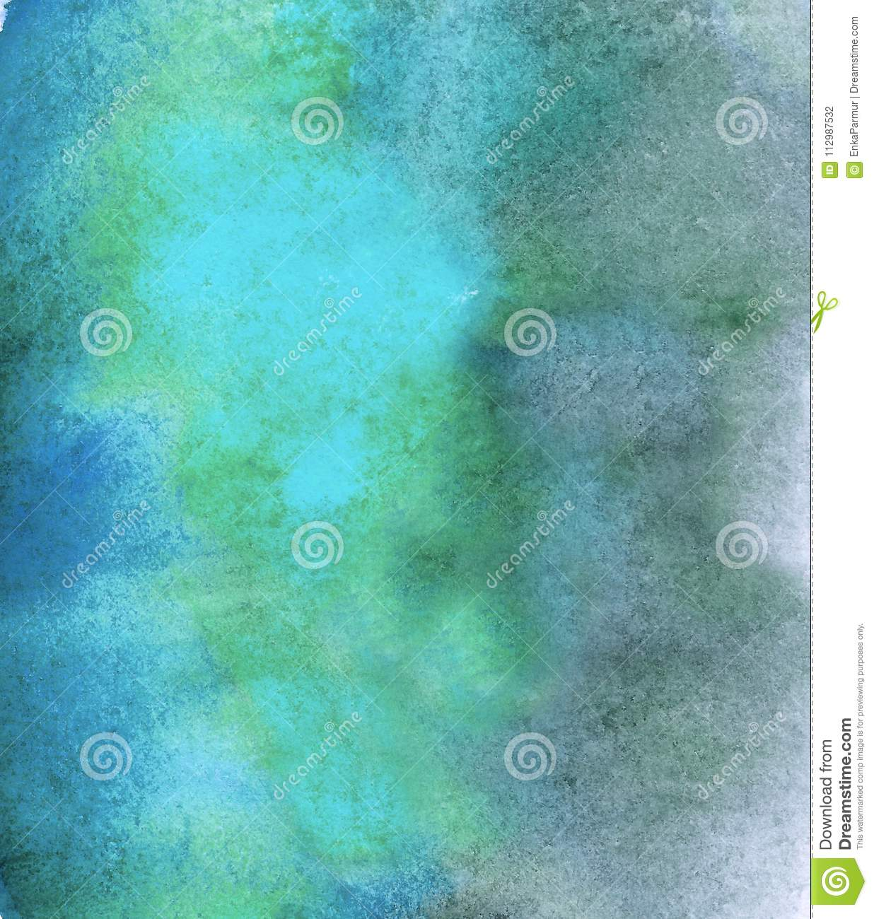 Abstract acrylic painted empty background. Blue watercolor texture. Grunge template for your design.