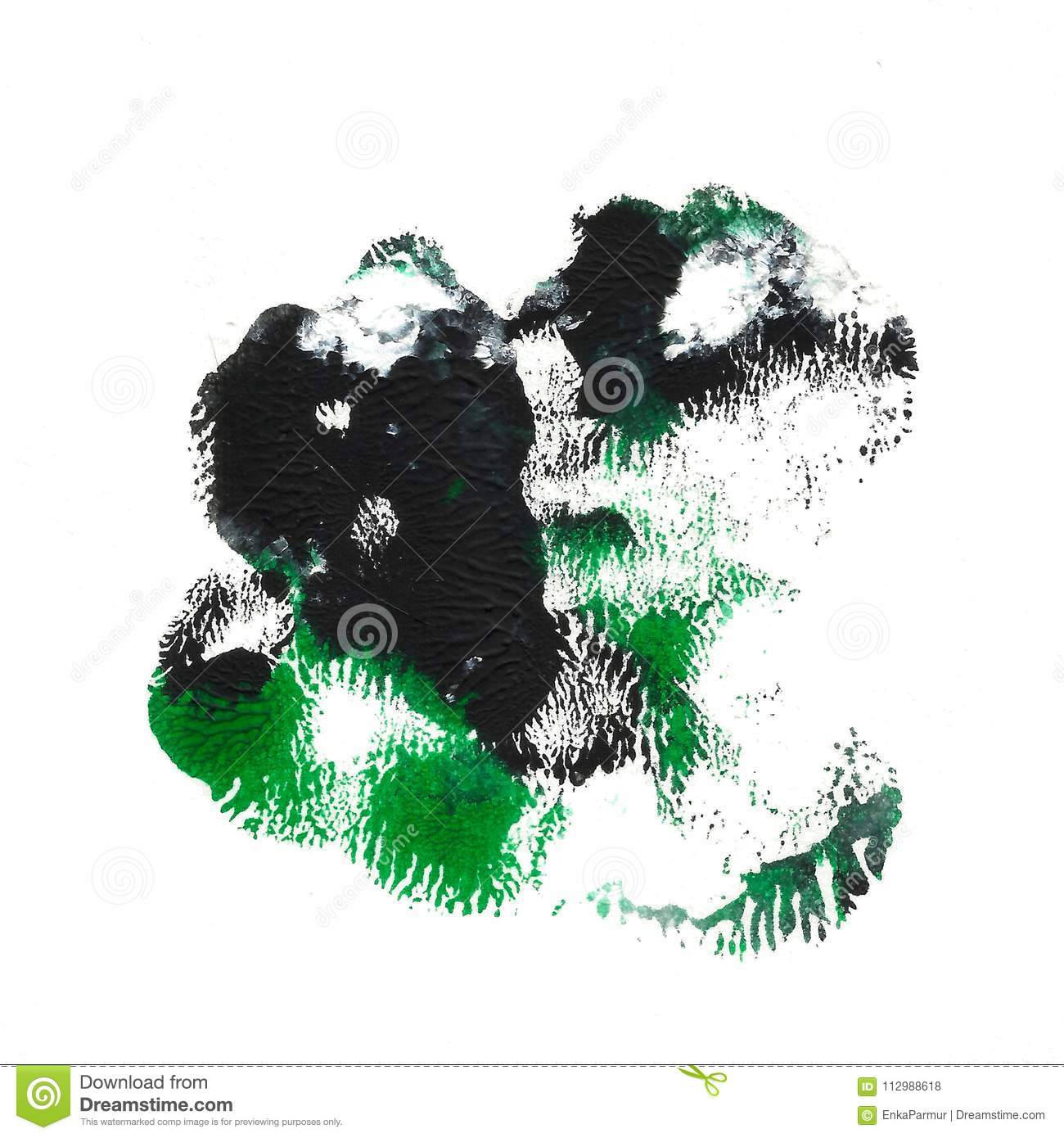 Abstract acrylic spot isolated on white background. Black green vibrant color. Monotyped hand drawn grunge